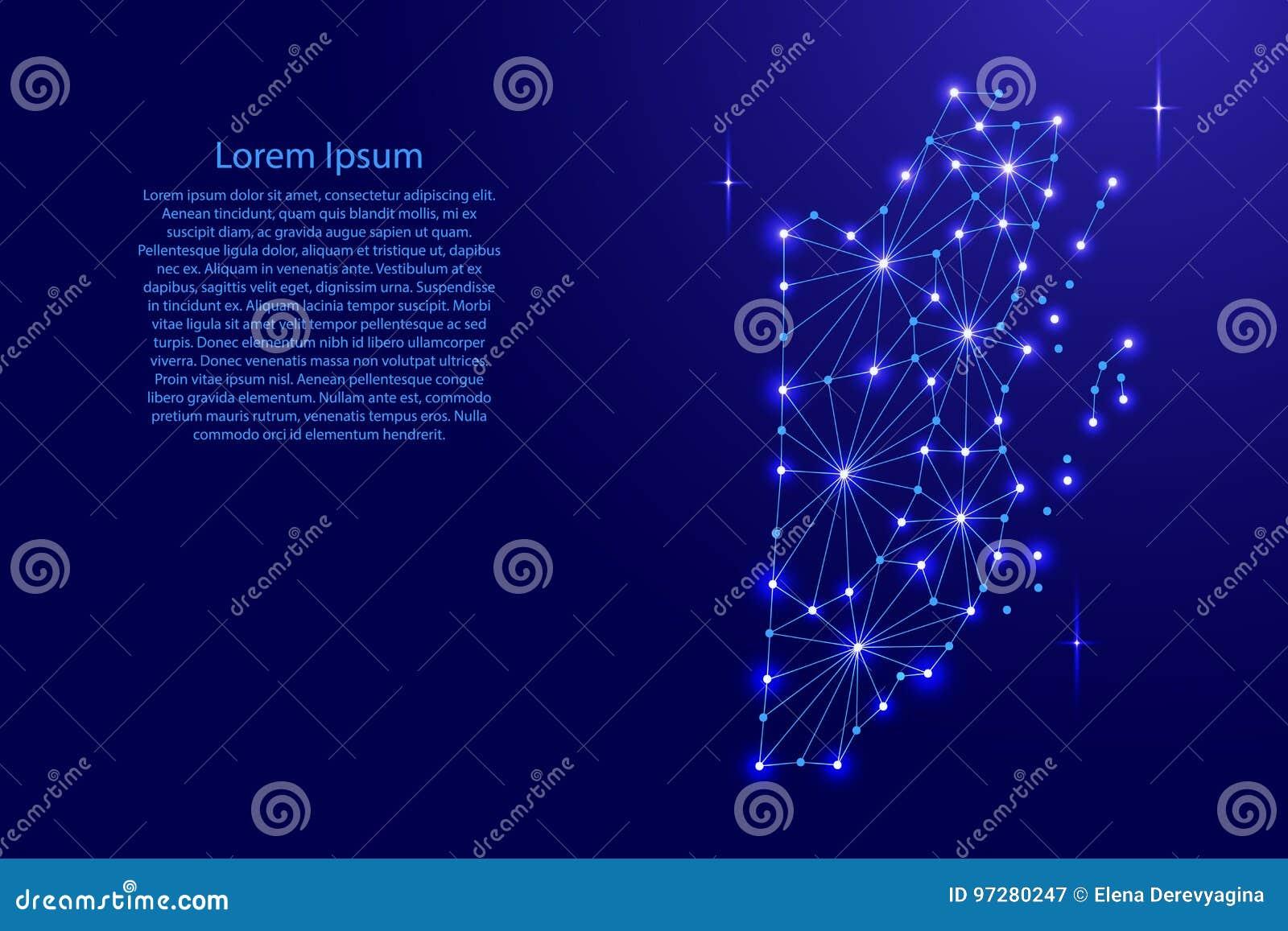 El mapa de Belice del mosaico poligonal alinea la red, rayos, estrellas del espacio del ejemplo