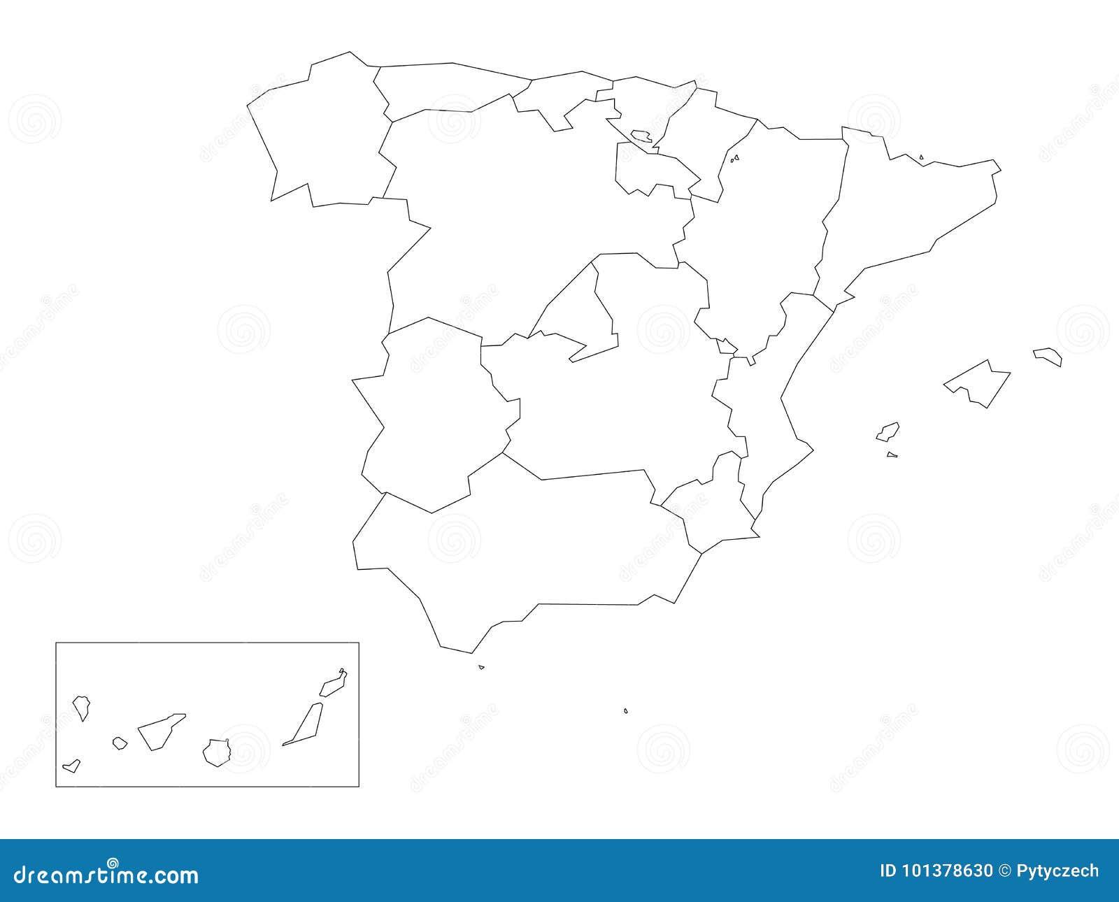 Mapa De Comunidades Autonomas En Blanco.El Mapa De Espana Dividio A 17 Comunidades Autonomas
