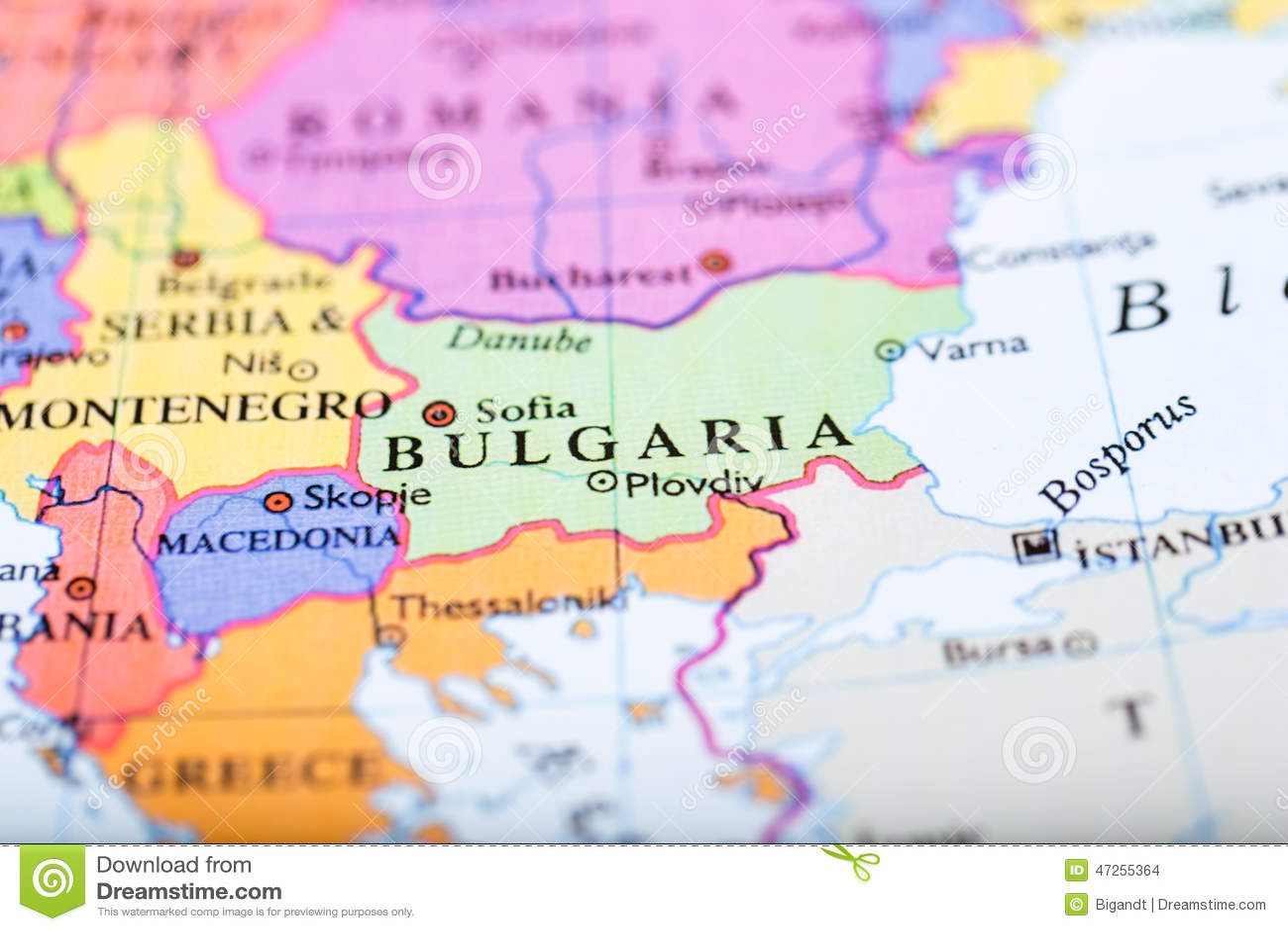 Pasador Ubicación Mapa Gráficos Vectoriales Gratis En: El Mapa De Europa Se Centró En Bulgaria Foto De Archivo