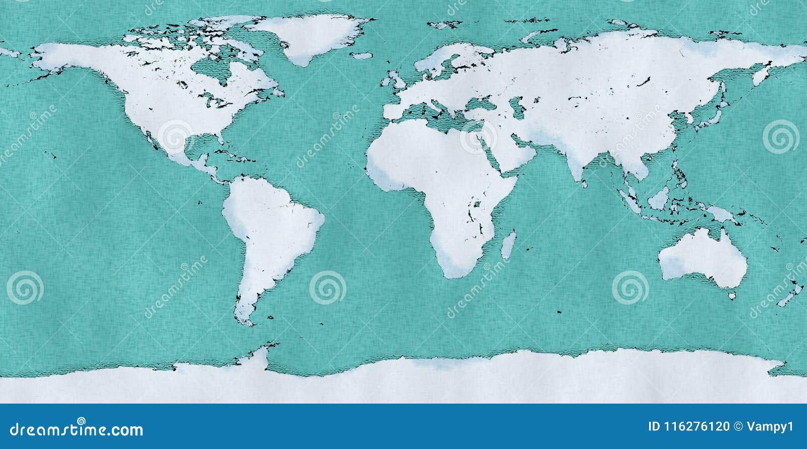 Mapa Geografico Del Mundo.El Mapa Del Mundo Mano Dibujada Ilustro Las Pinceladas