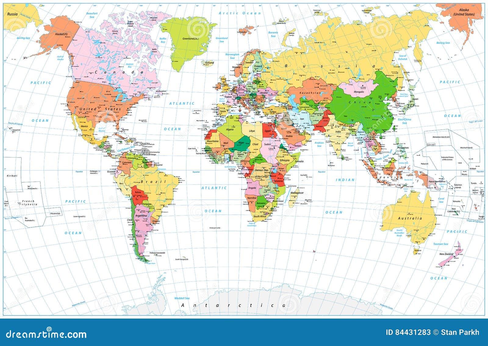El mapa del mundo político detallado grande con agua se opone o aislado
