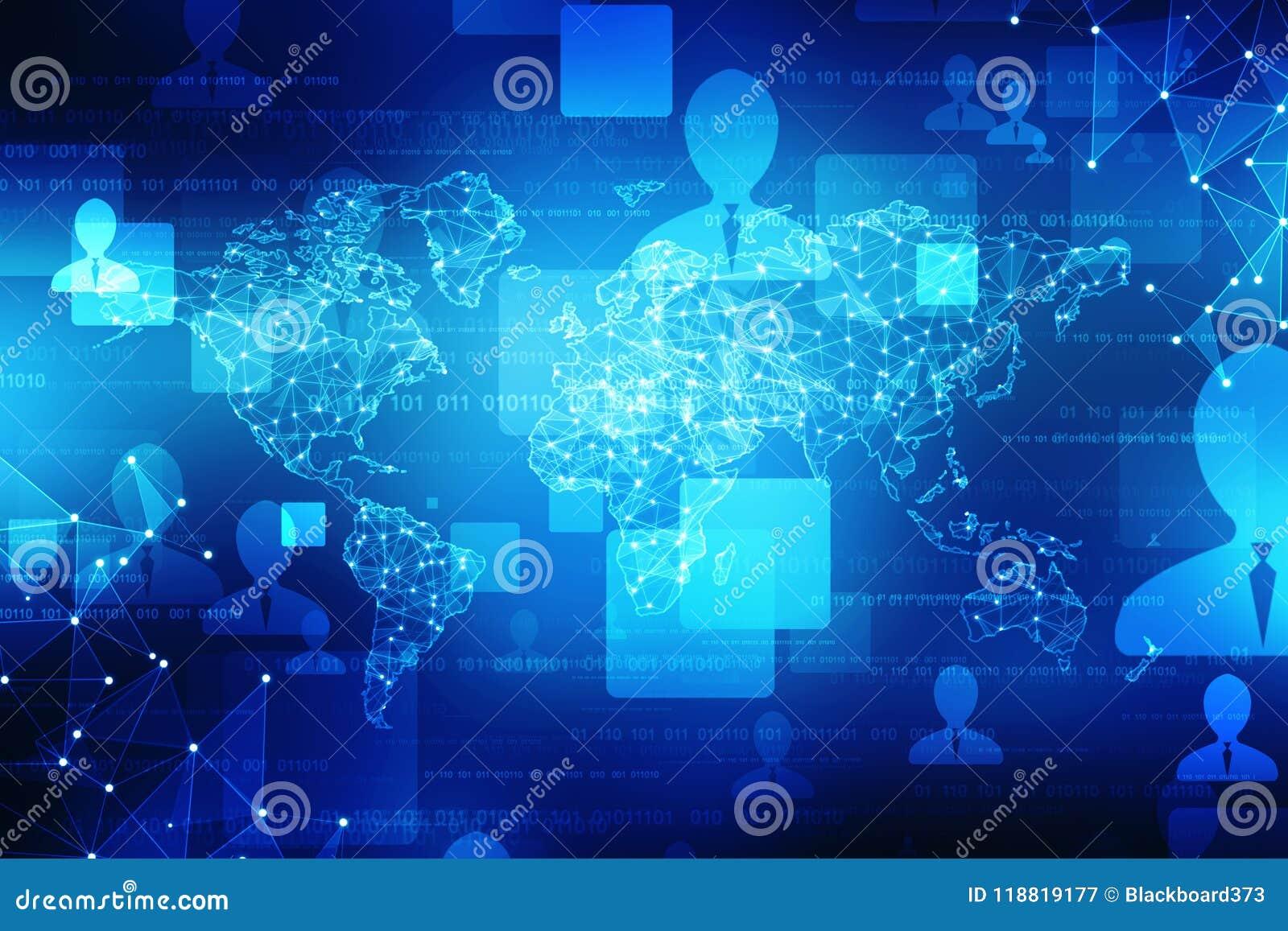 El mapa del mundo y el blockchain miran para mirar red, concepto de la red global