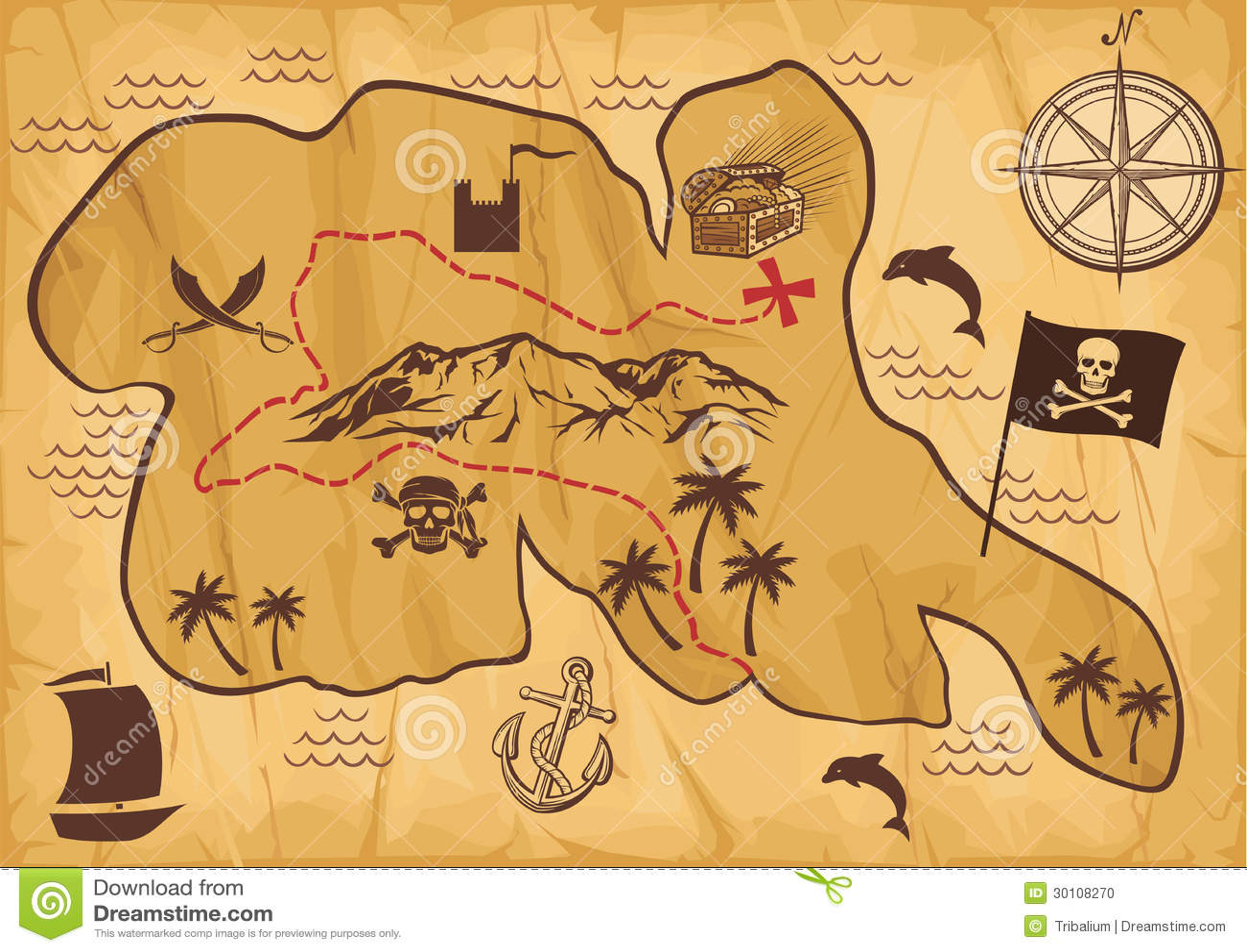 Mapa Del Tesoro Del Pirata Del Vector Ilustración del Vector ...