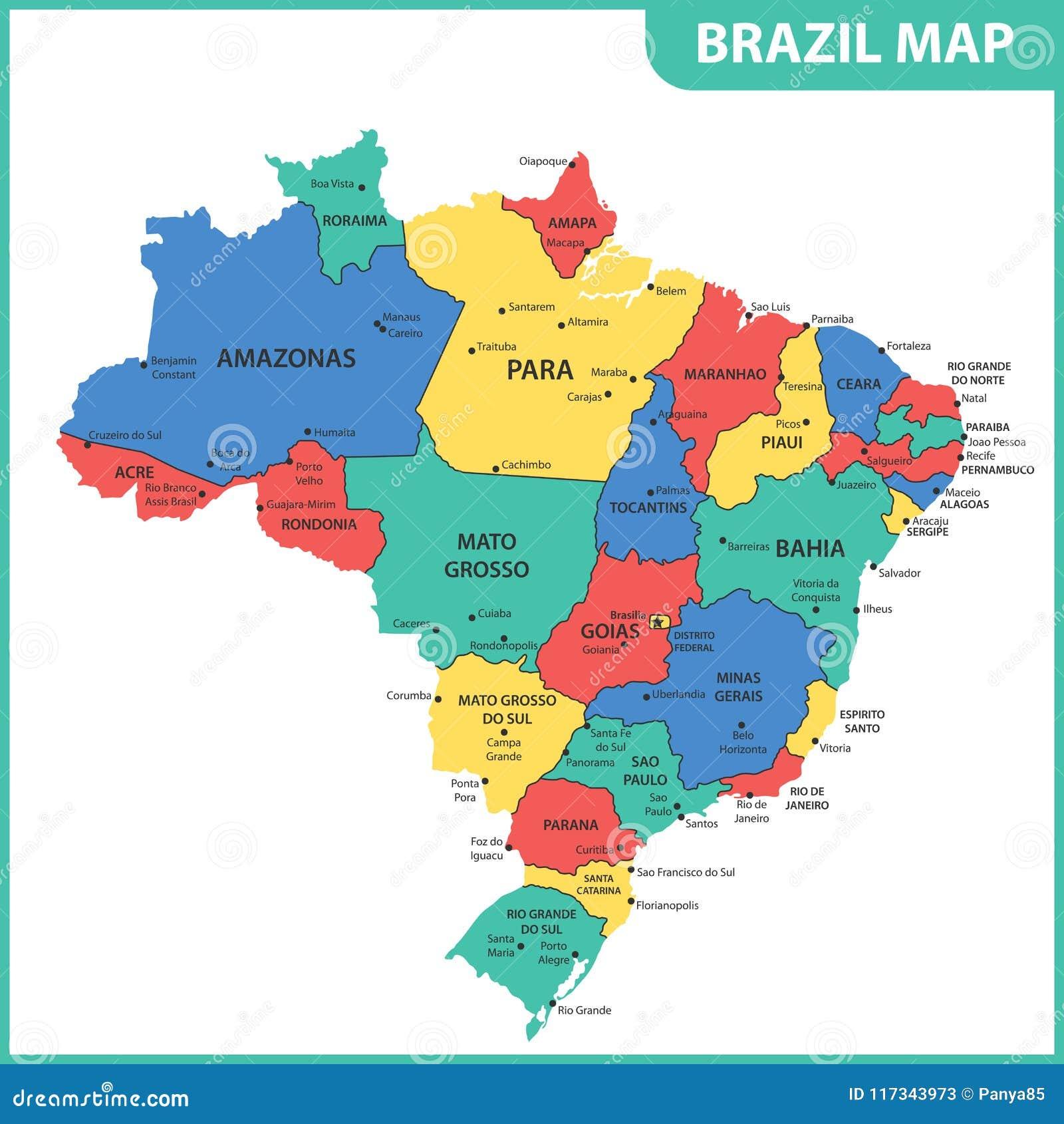 El Mapa Detallado Del Brasil Con Las Regiones O Estados Y Ciudades Capitales Ilustración Del Vector Ilustración De Superficie Americano 117343973