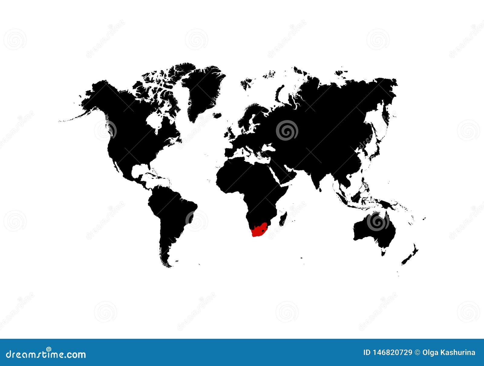 El mapa Suráfrica de se destaca en el rojo en el mapa del mundo - vector