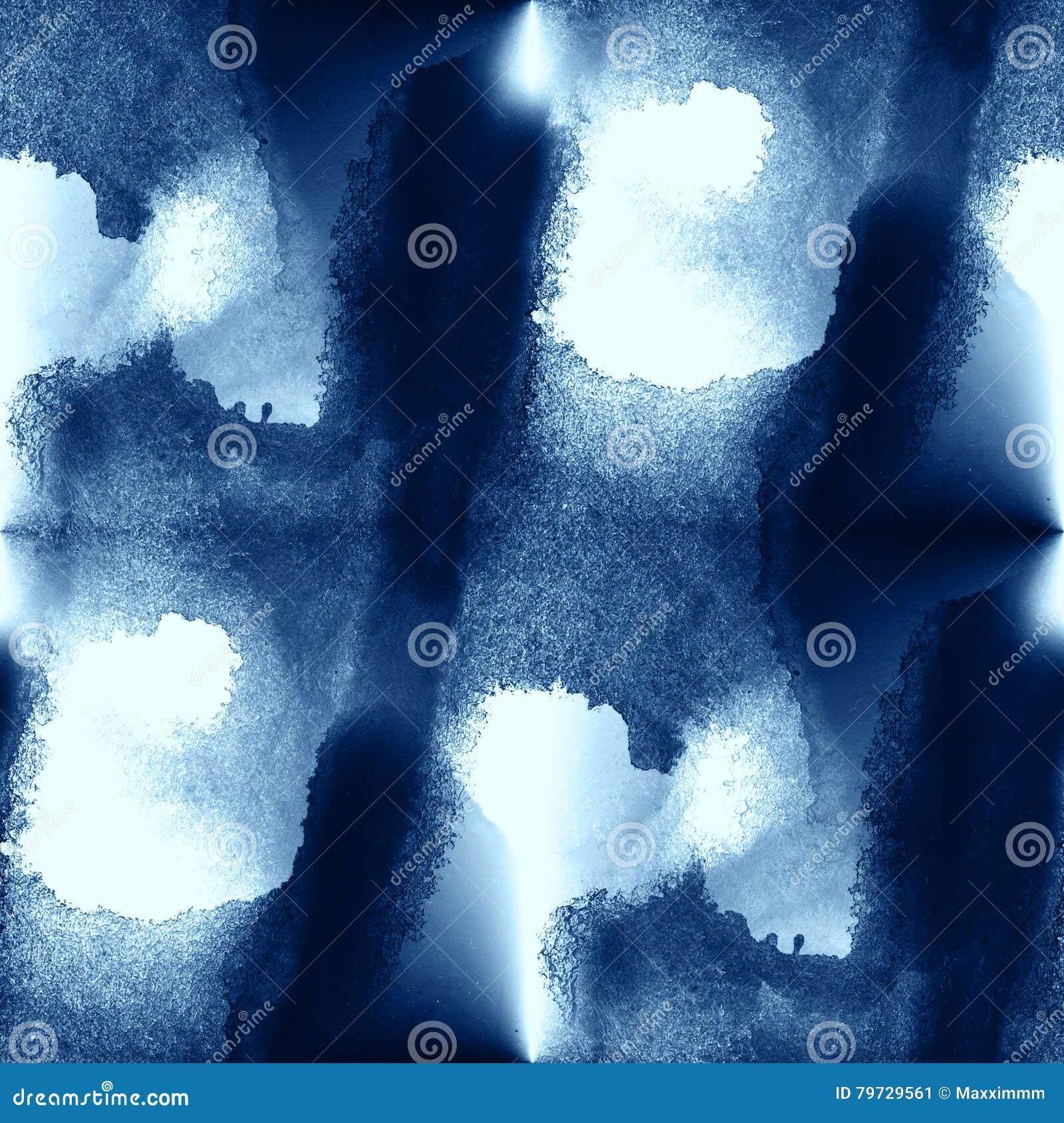 El mar azul del agua del modelo del arte colorido agita el fondo pintado a mano de la acuarela de la textura inconsútil abstracta