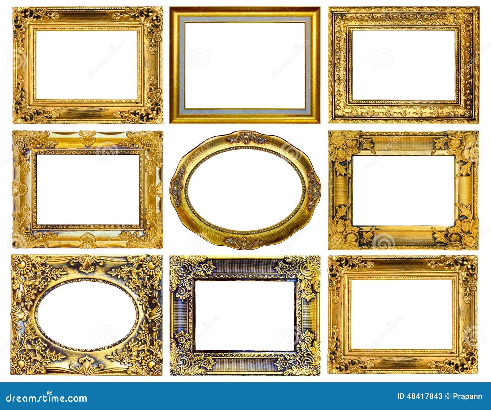 El Marco Antiguo Del Oro En El Fondo Blanco Imagen de archivo ...