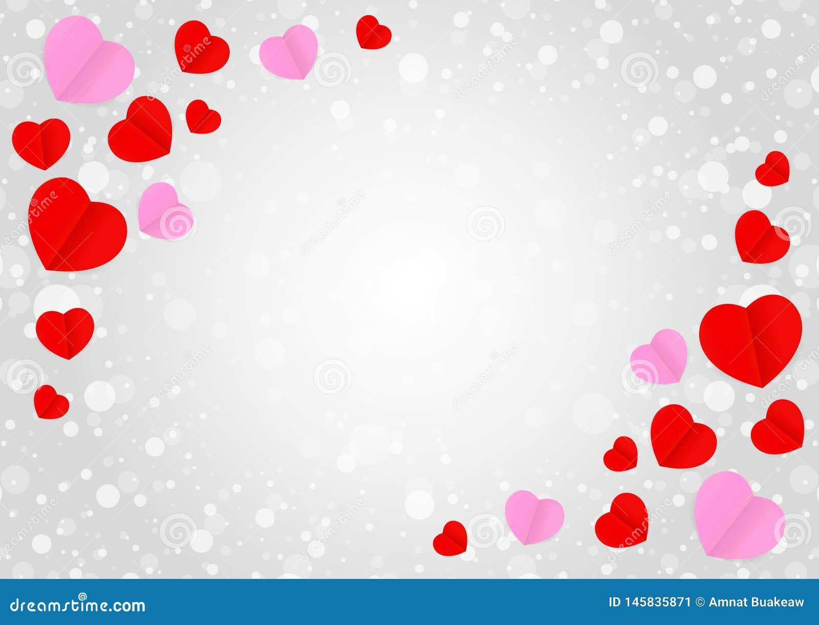El marco gris vacío y la forma rosada roja del corazón para las tarjetas del día de San Valentín de la bandera de la plantilla ca