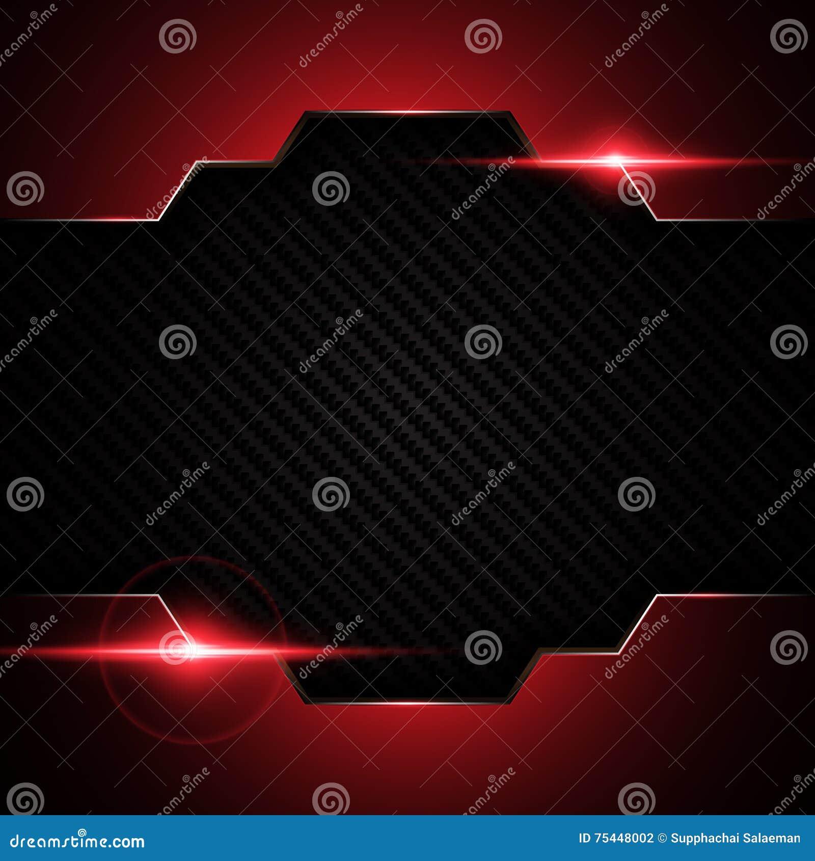 El marco rojo negro metálico abstracto en tecnología del modelo de la textura de Kevlar del carbono se divierte el fondo del conc