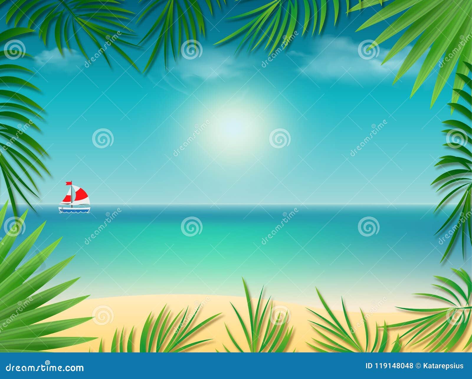 El Marco Tropical Del Fondo Con La Playa Del Mar Enmarcada Con La ...