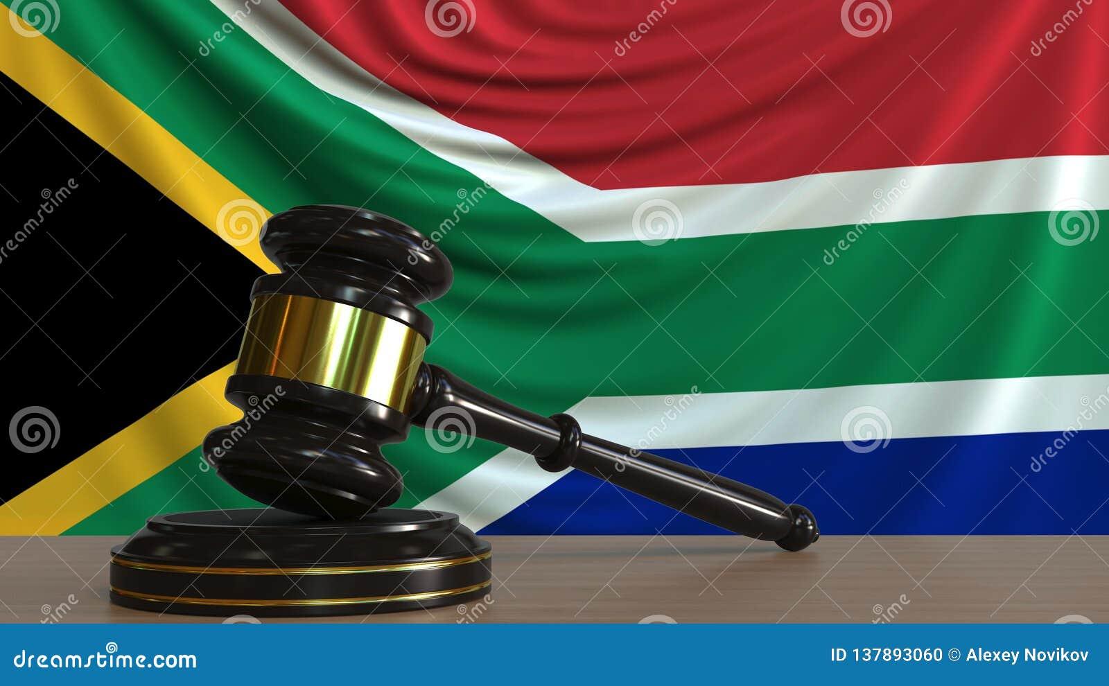 El mazo y el bloque del juez contra la bandera de Suráfrica Representación conceptual 3D de la corte