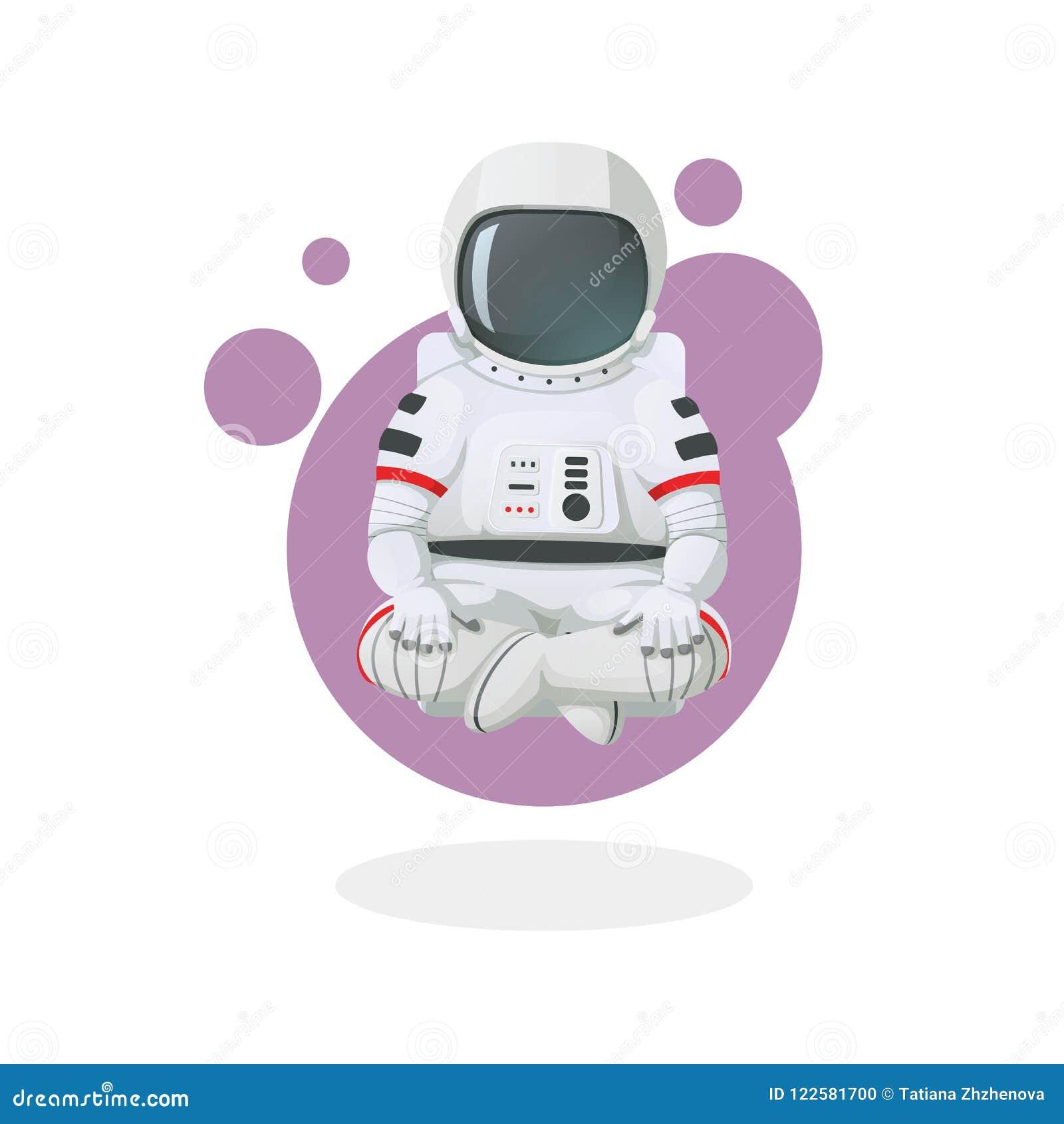 El meditar del astronauta, relajándose en actitud del loto Icono del espacio