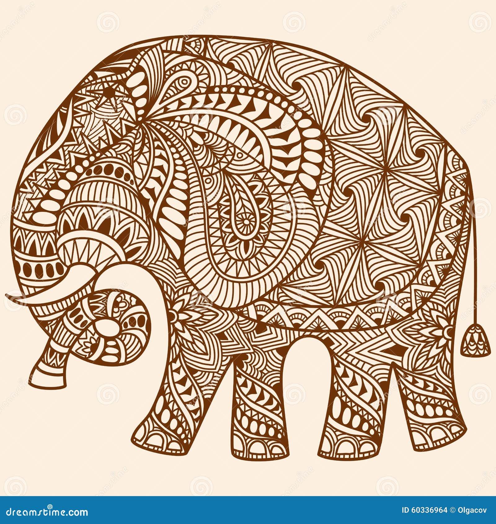 El mehndi de la alheña del vector adornó el elefante indio