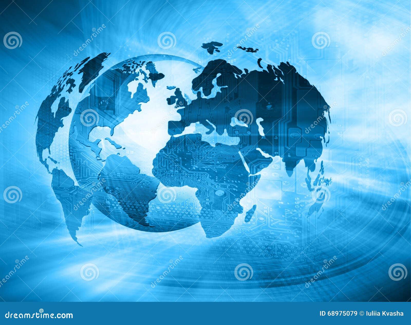 El mejor concepto del Internet de asunto global Globo, líneas que brillan intensamente en fondo tecnológico Electrónica, Wi-Fi, r