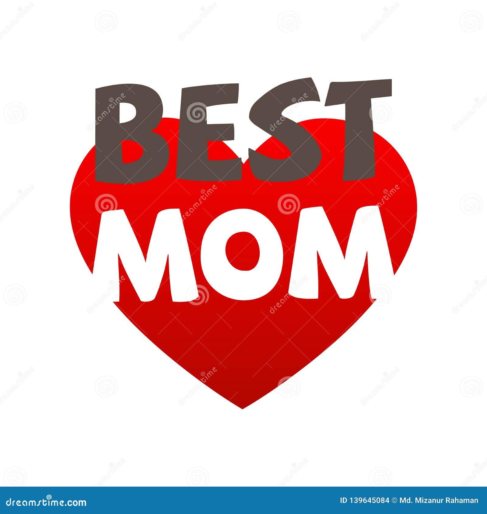 El mejor ejemplo del vector de la mamá con el corazón rojo para el día de madres