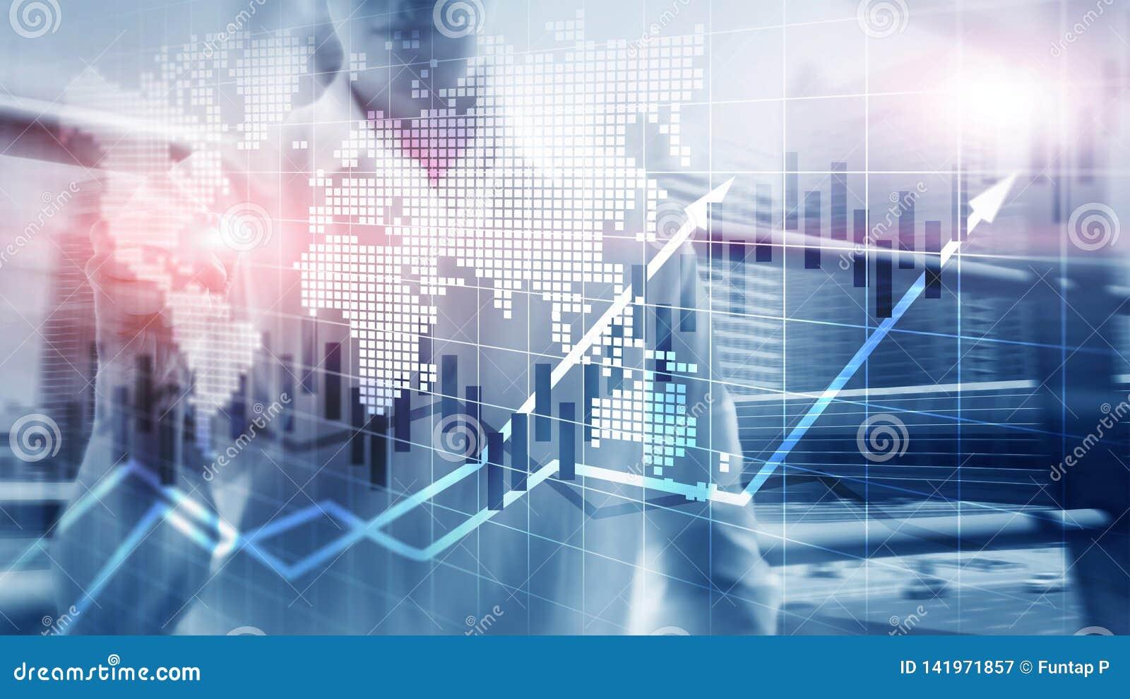 El mercado de acción financiero representa el concepto de ROI Return On Investment Business gráficamente de la carta de la vela