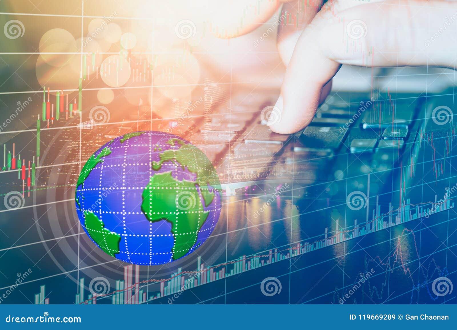 El mercado de acción o el gráfico y la palmatoria comerciales de las divisas trazan conveniente para el concepto de la inversión