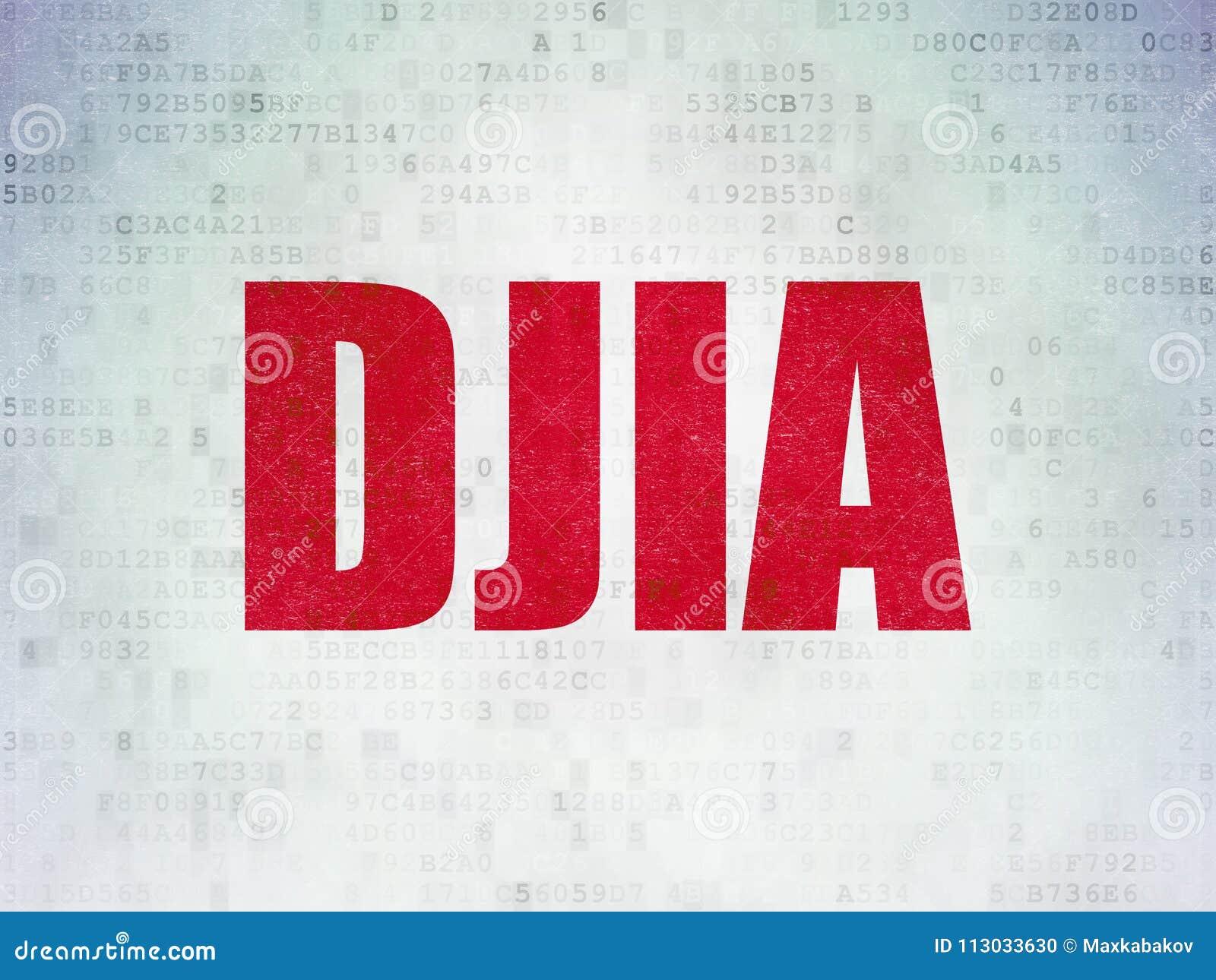 El mercado de acción pone en un índice concepto: DJIA en datos digitales empapela el fondo