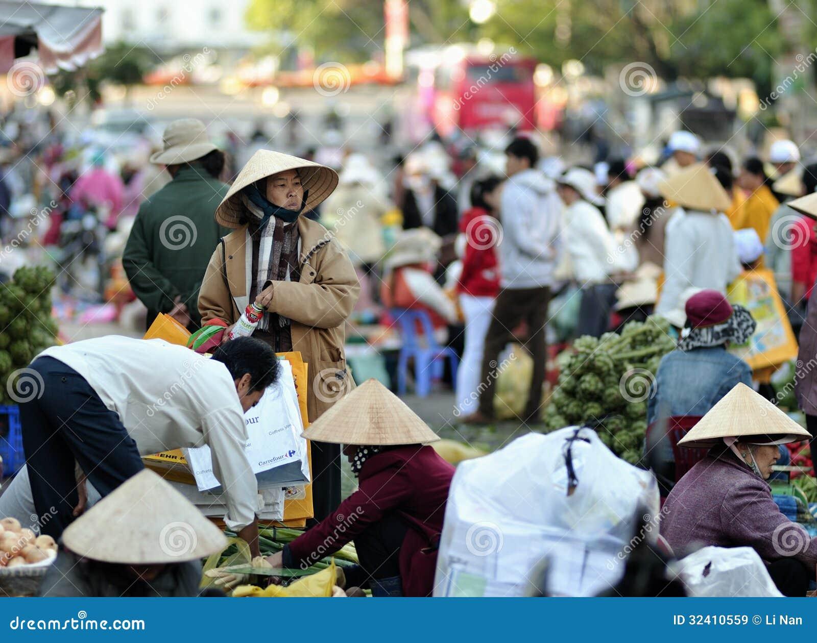 El mercado ocupado en Vietnam