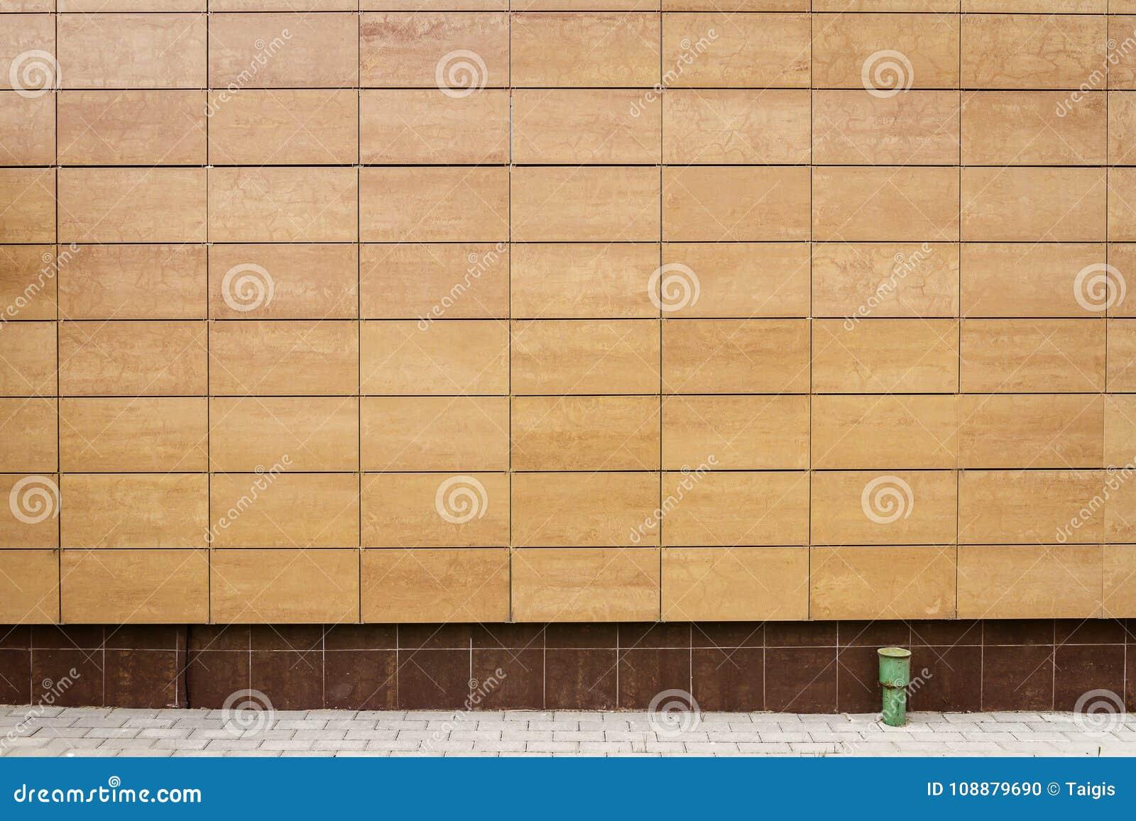 El metal beige moderno teja la pared