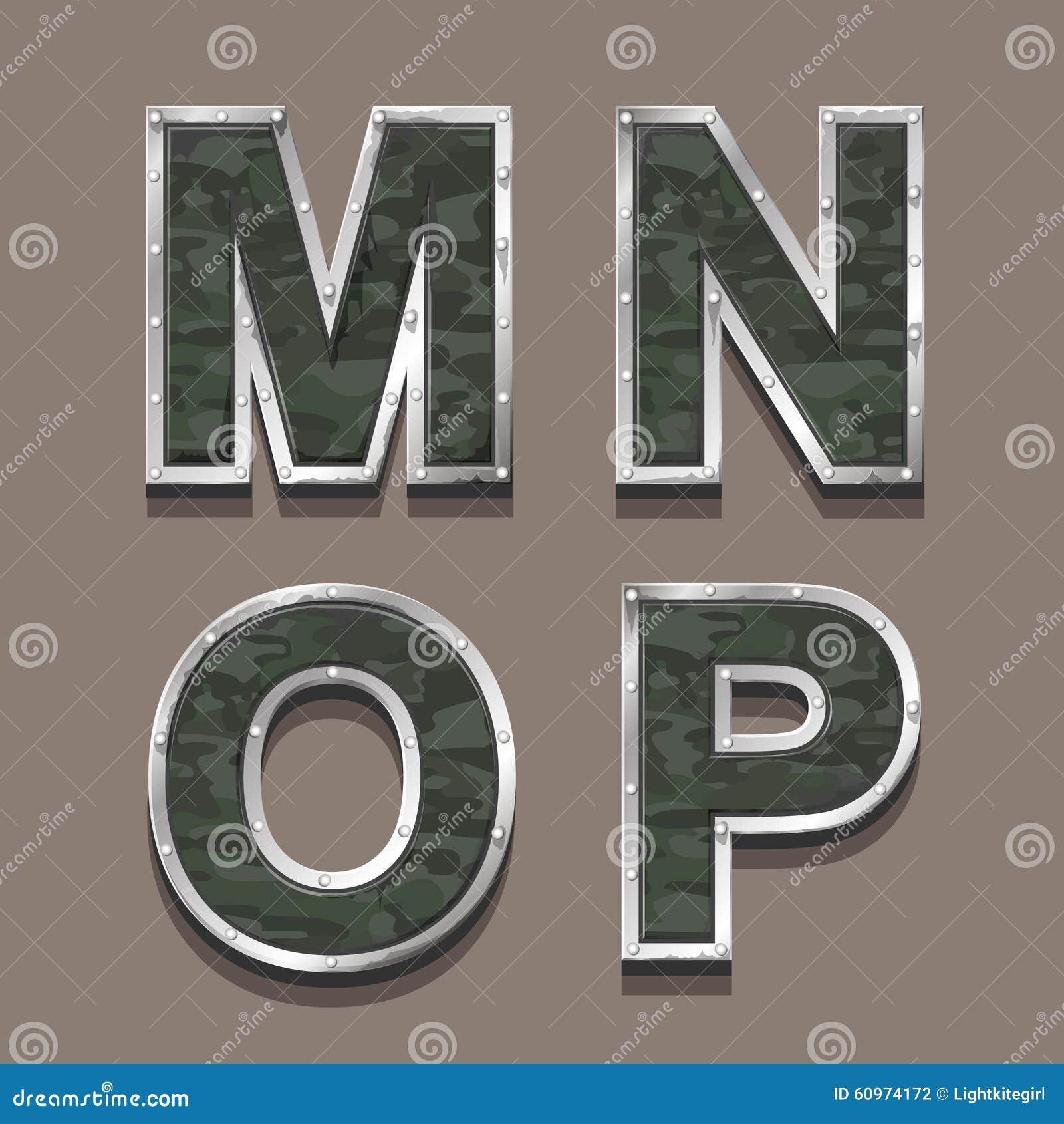 El Militar Pone Letras A Alfabeto De Color Caqui Metálico De Acero ...
