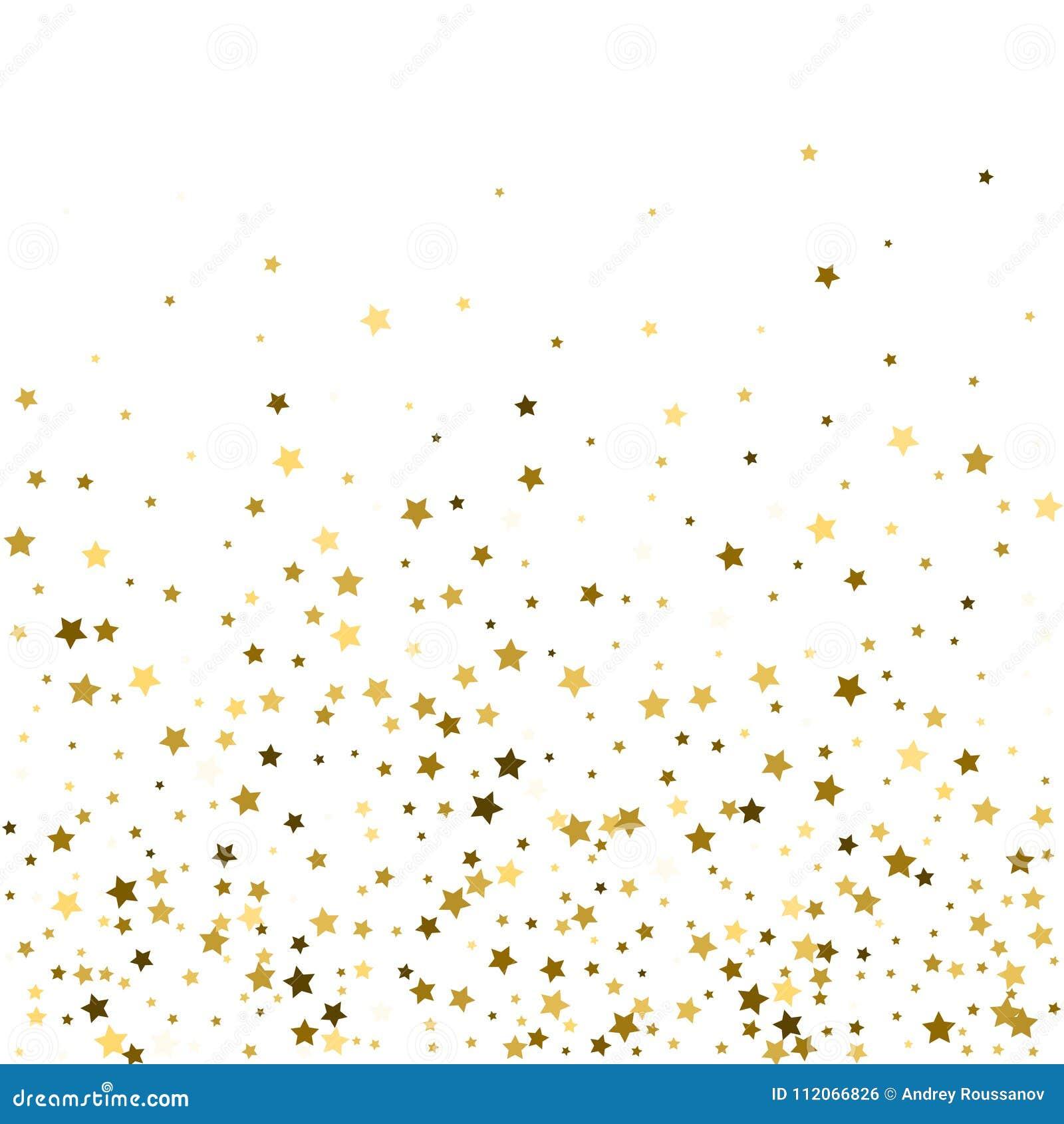 El modelo abstracto del oro que cae al azar protagoniza en el backgroun blanco