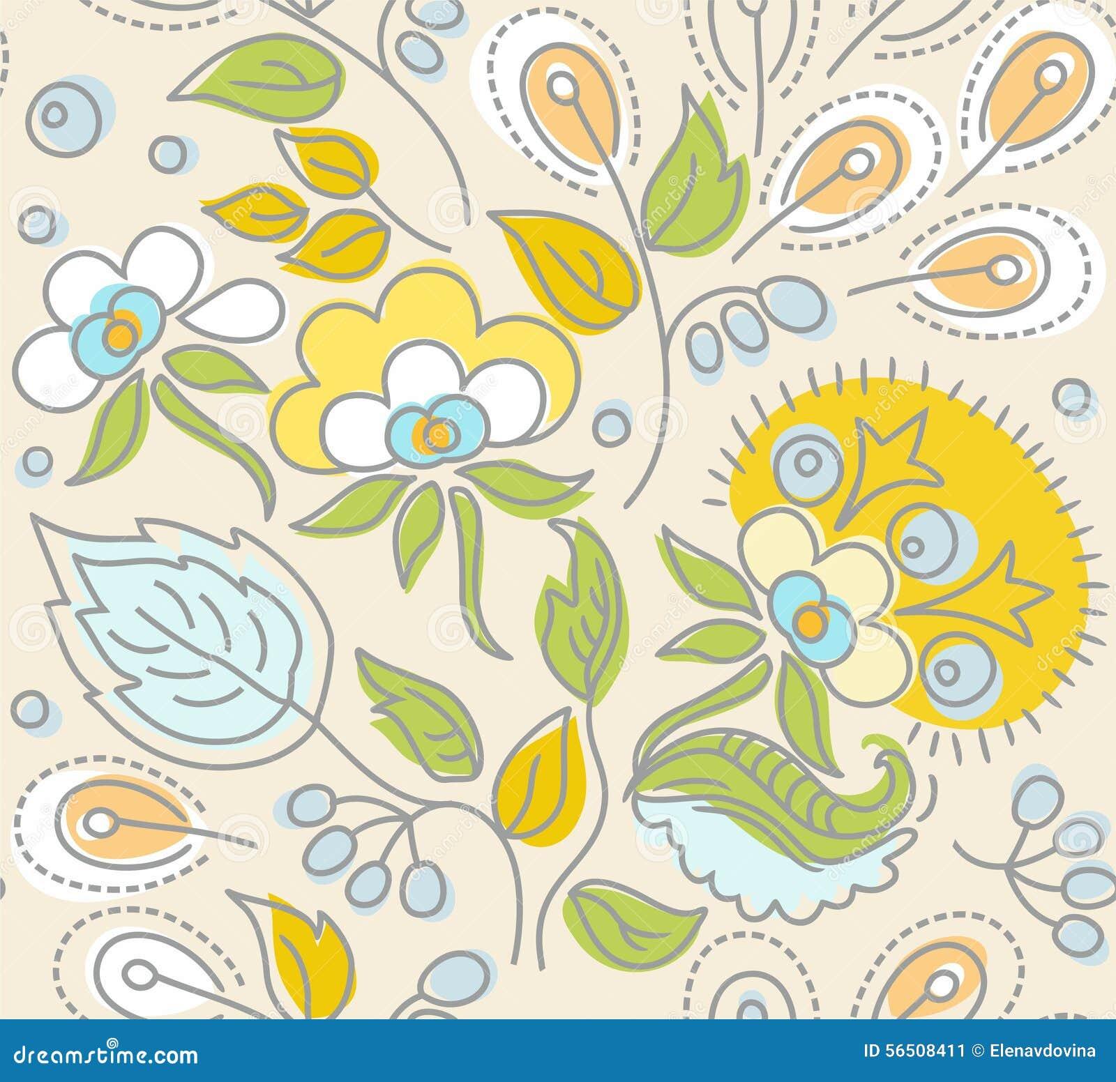 El modelo beige inconsútil, flores amarillas, bayas azules, verde se va