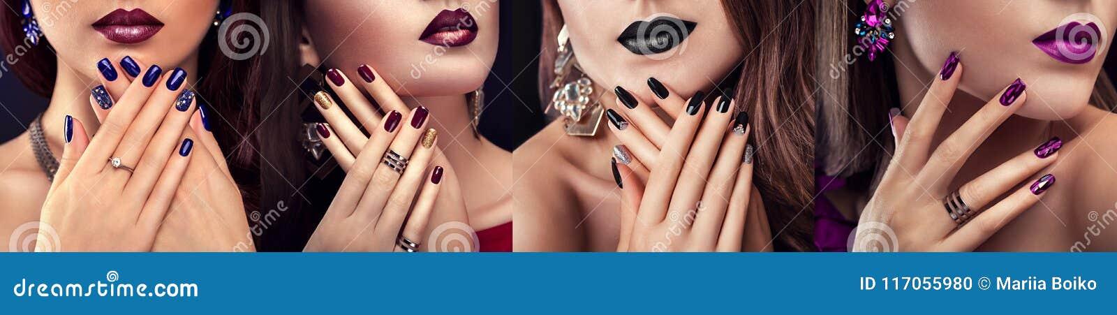 El modelo de moda de la belleza con diverso maquillaje y el clavo diseñan la joyería que lleva Sistema de la manicura Cuatro mira