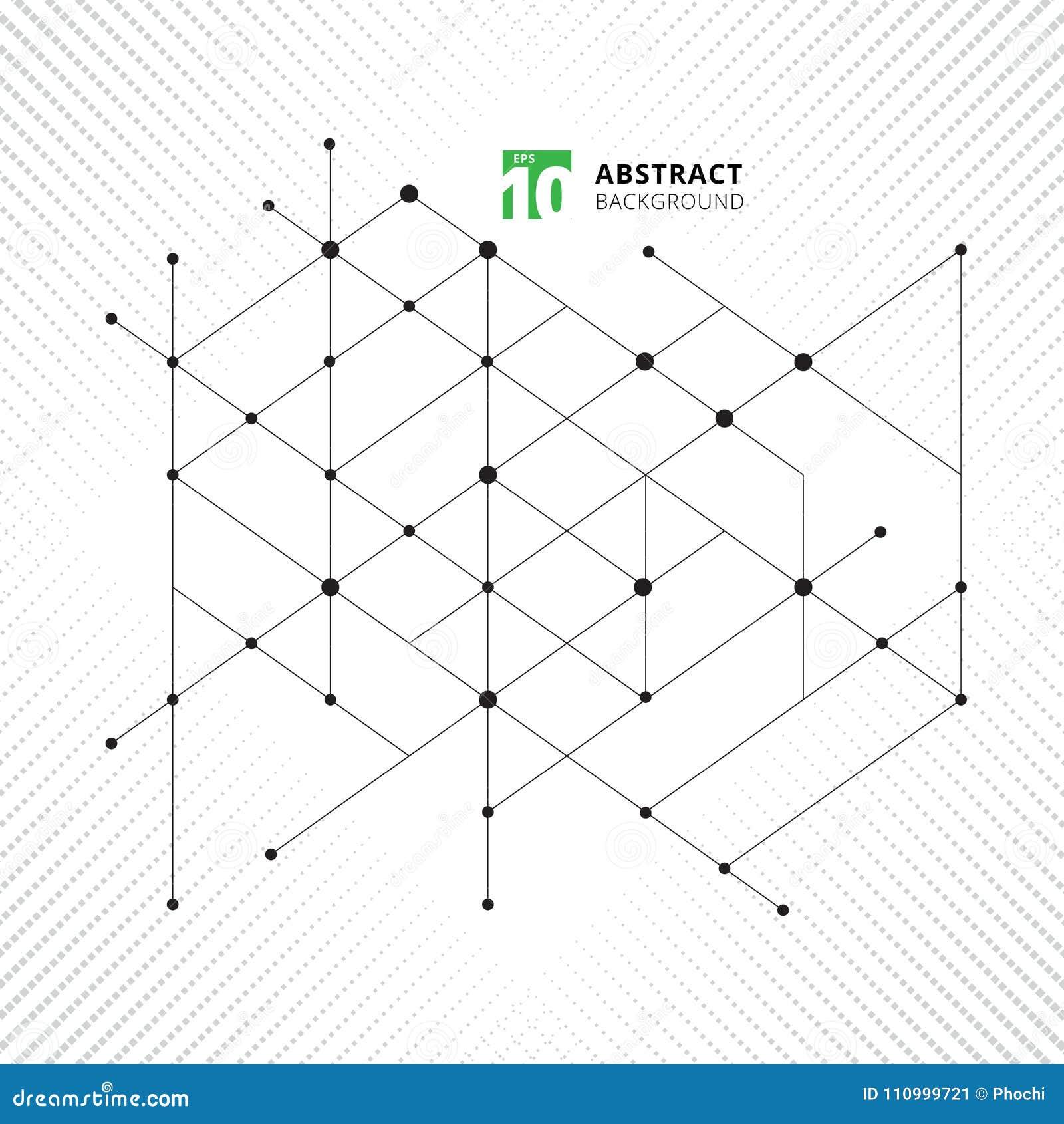 El modelo geométrico de la estructura moderna abstracta alinea technolo negro