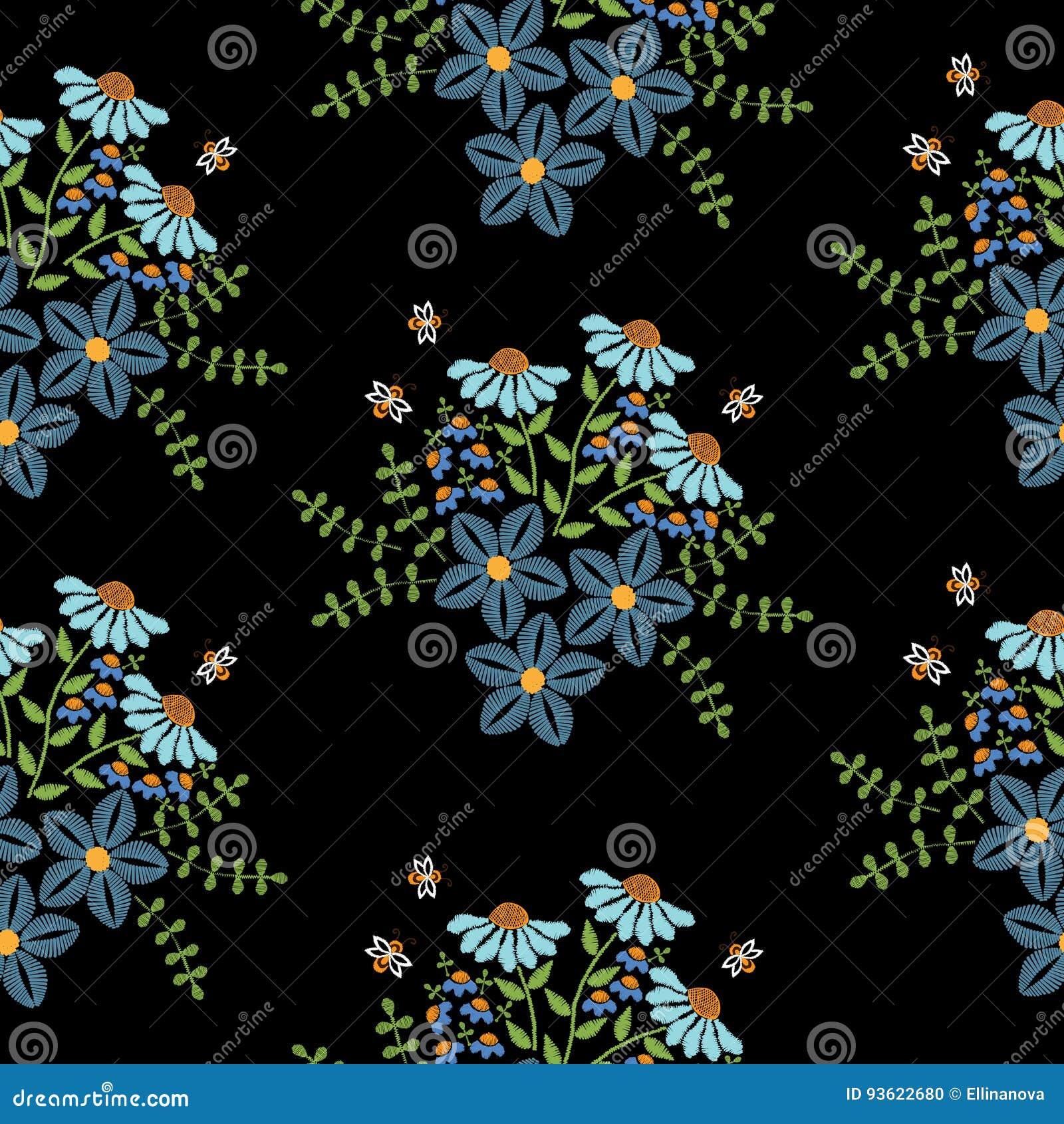 El Modelo Inconsutil Con Bordado Cose La Flor Azul De Imitacion