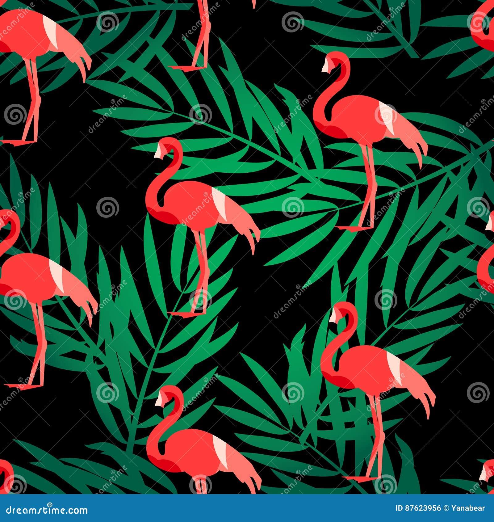 El modelo inconsútil con el flamenco y la palma verde ramifica Ornamento para la materia textil y envolver Fondo del verano del v
