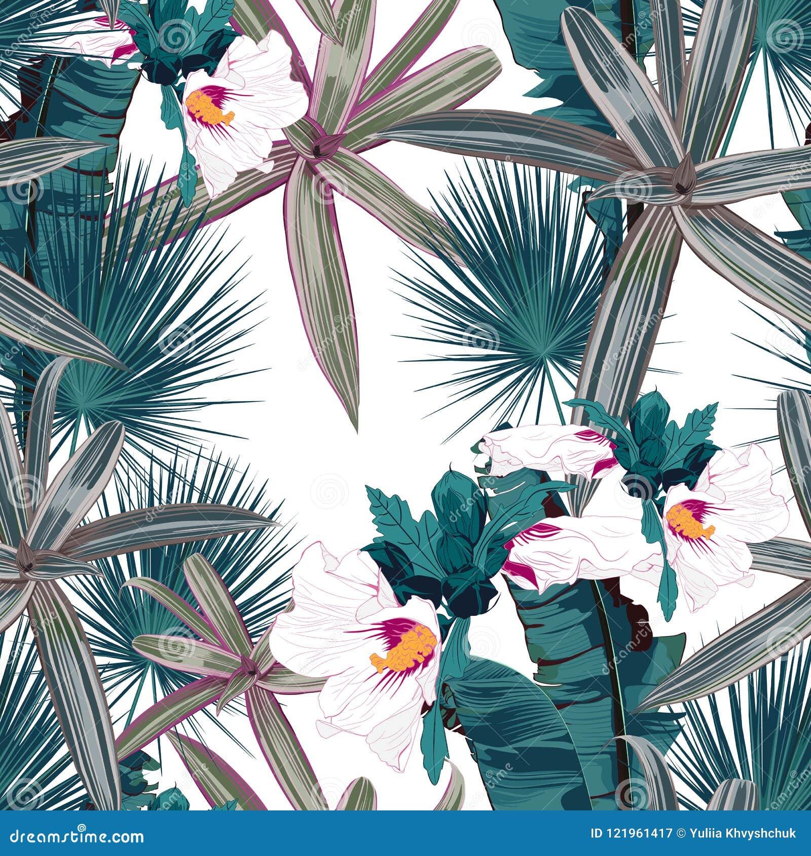 El modelo inconsútil con las hojas y el hibisco tropicales florece Hojas de palma oscuras y verdes claras en el fondo blanco