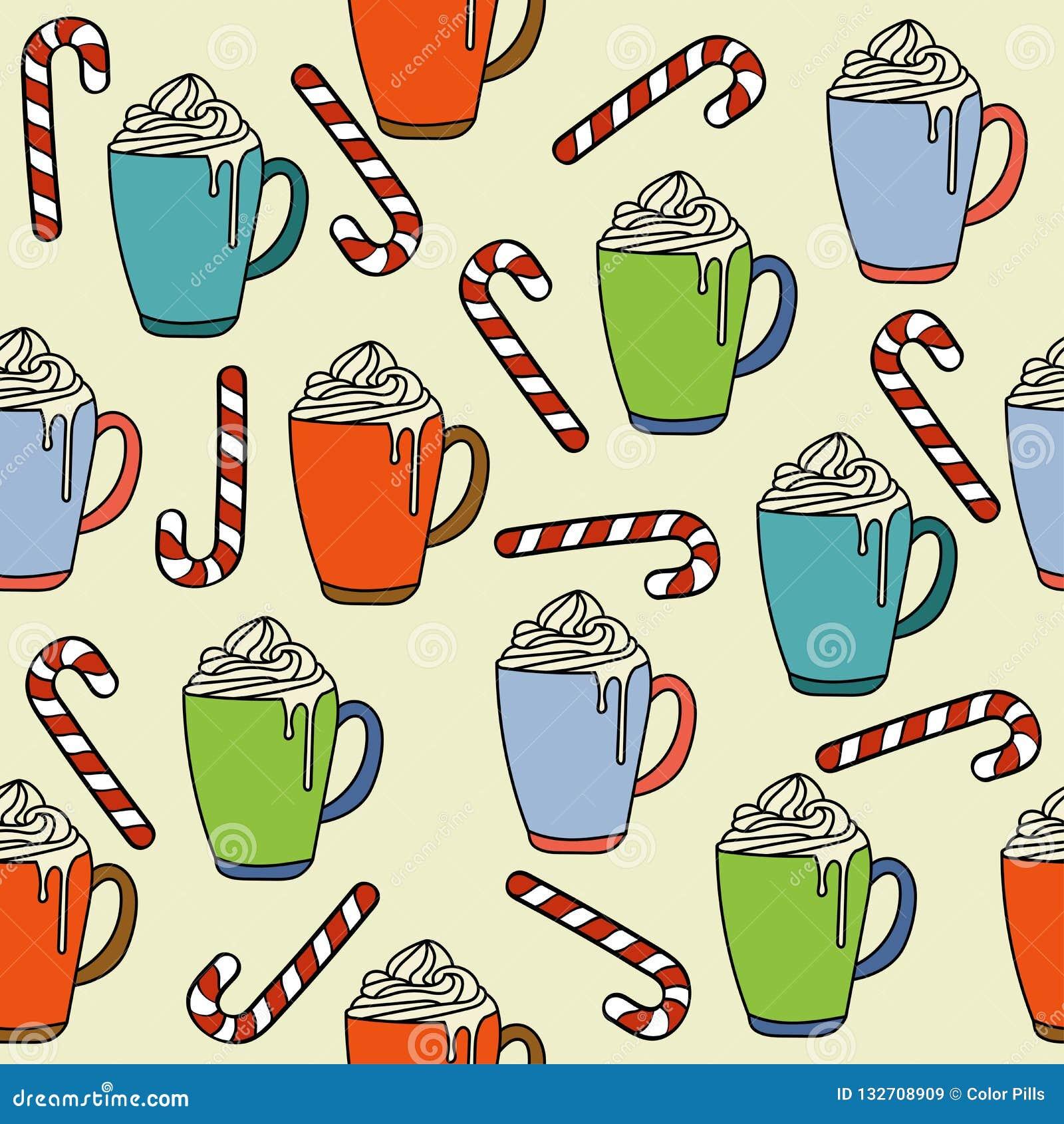 El modelo inconsútil de la Navidad con las tazas y el caramelo del chocolate caliente puede