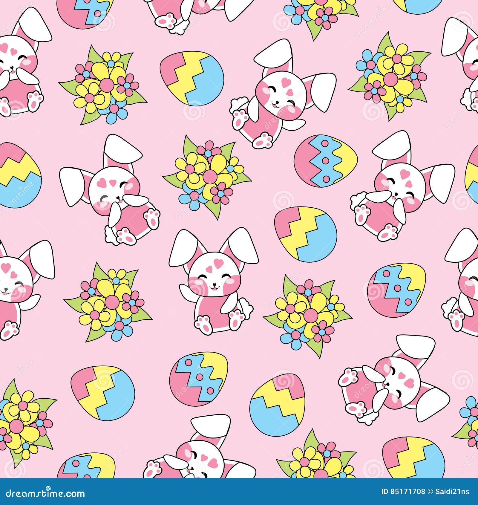 El modelo inconsútil de Pascua con los conejos lindos, las flores y los huevos coloridos en el fondo rosado para el niño wallpape