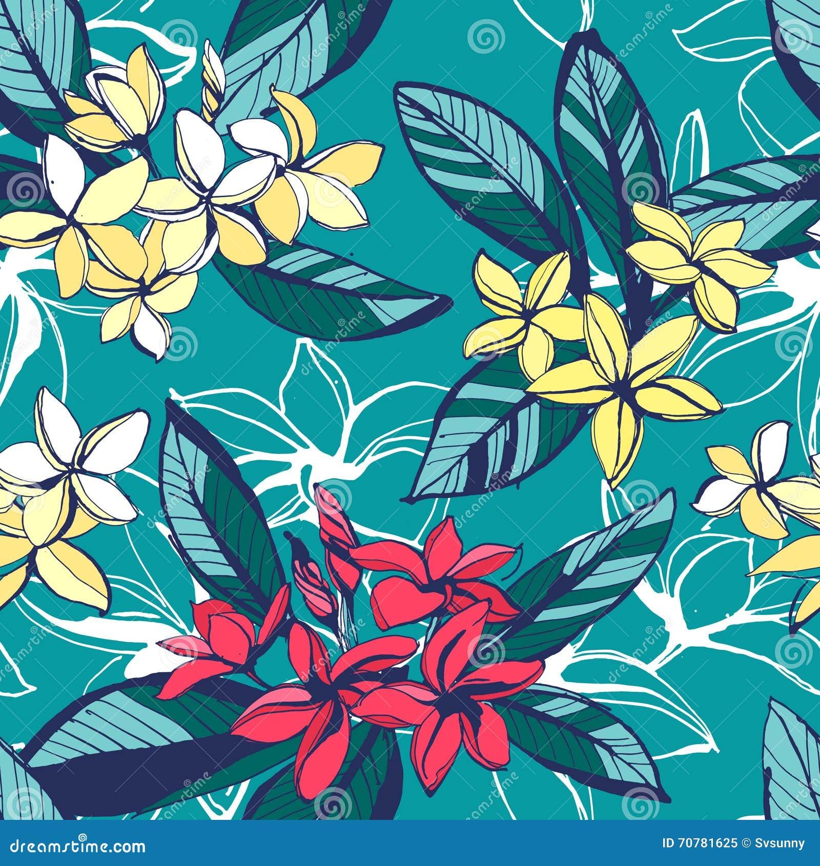 El modelo inconsútil del verano floral tropical con plumeria florece los wi