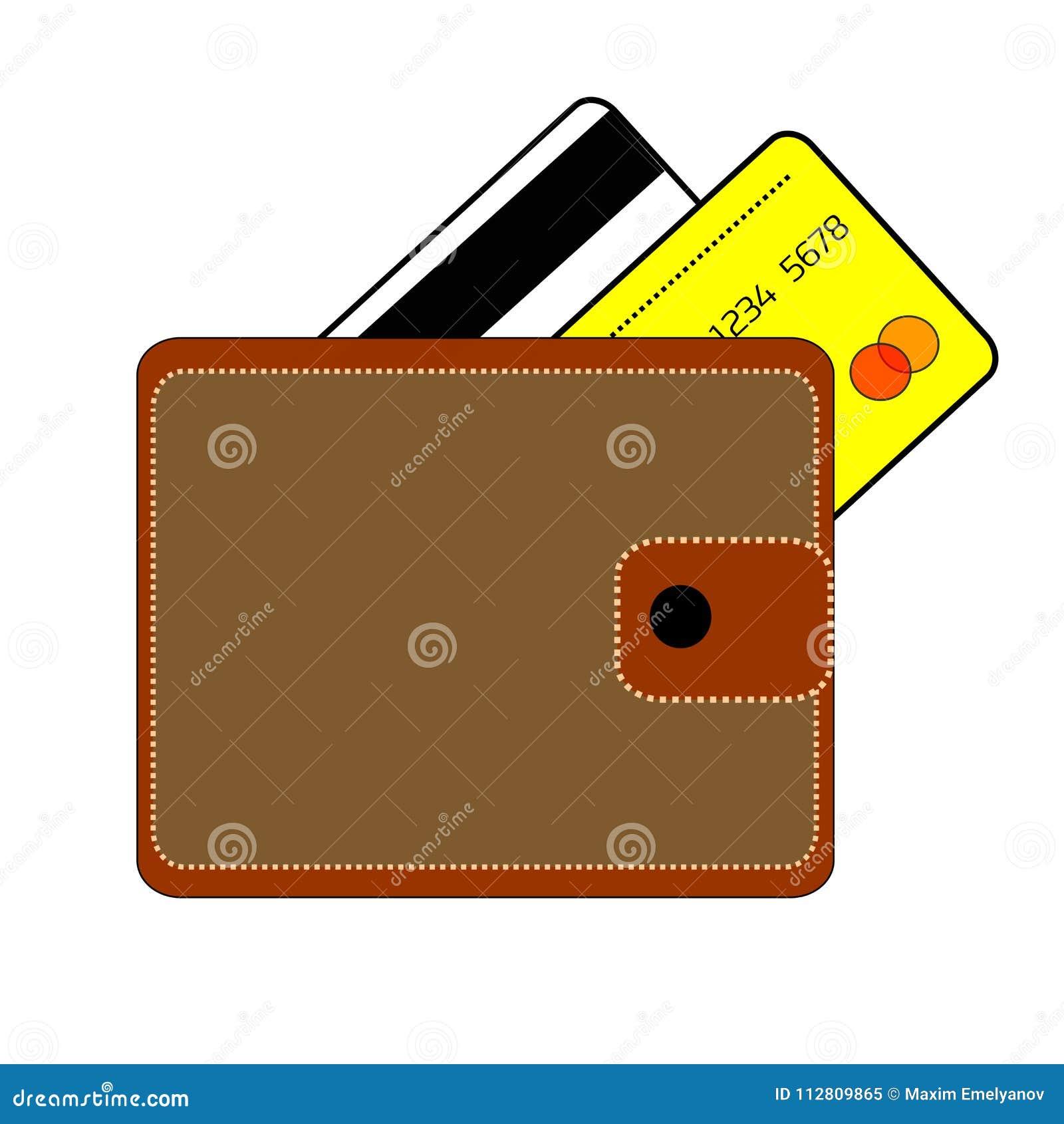 El monedero de Brown con el botón y dos tarjetas de crédito son banco blanco y amarillo en un fondo blanco