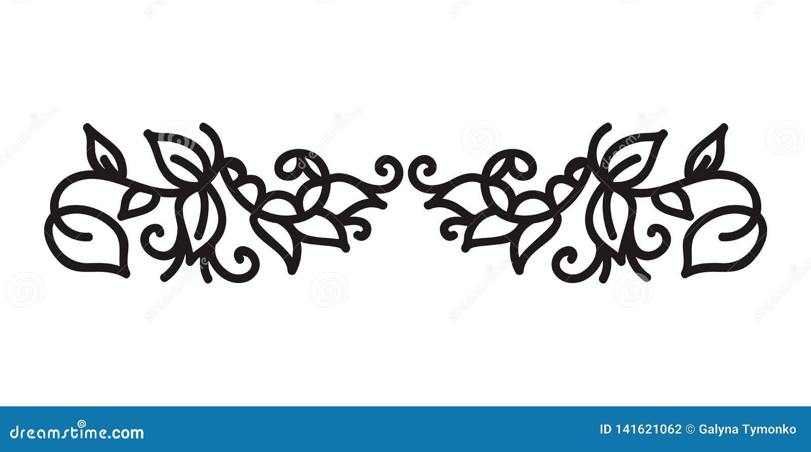El monoline del vintage prospera vector escandinavo del monograma con las hojas y las flores Esquinas y divisores para día de San