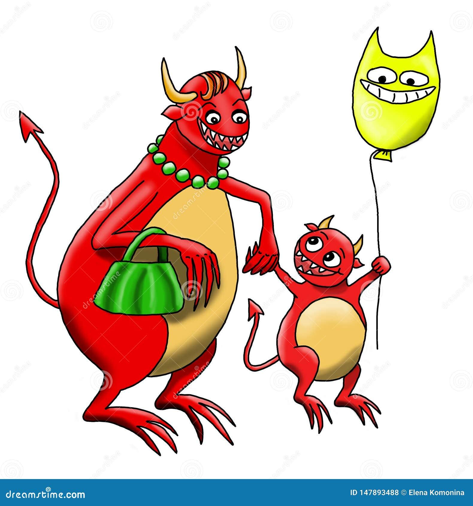 El Monstruo-bebé está caminando con él es Monstruo-madre junto