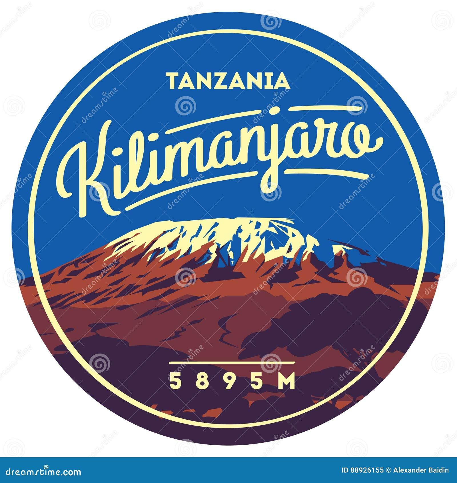 El monte Kilimanjaro en insignia al aire libre de la aventura de África, Tanzania El volcán más alto en el ejemplo de la tierra