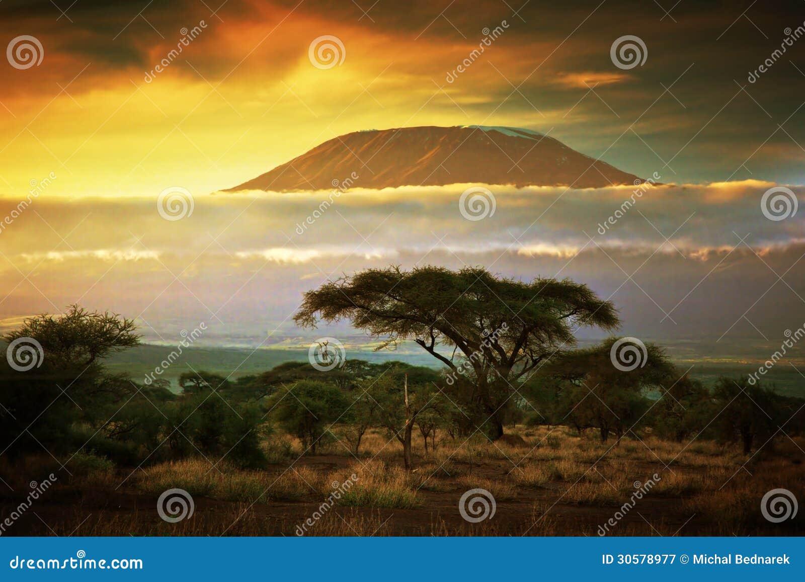 El monte Kilimanjaro. Sabana en Amboseli, Kenia