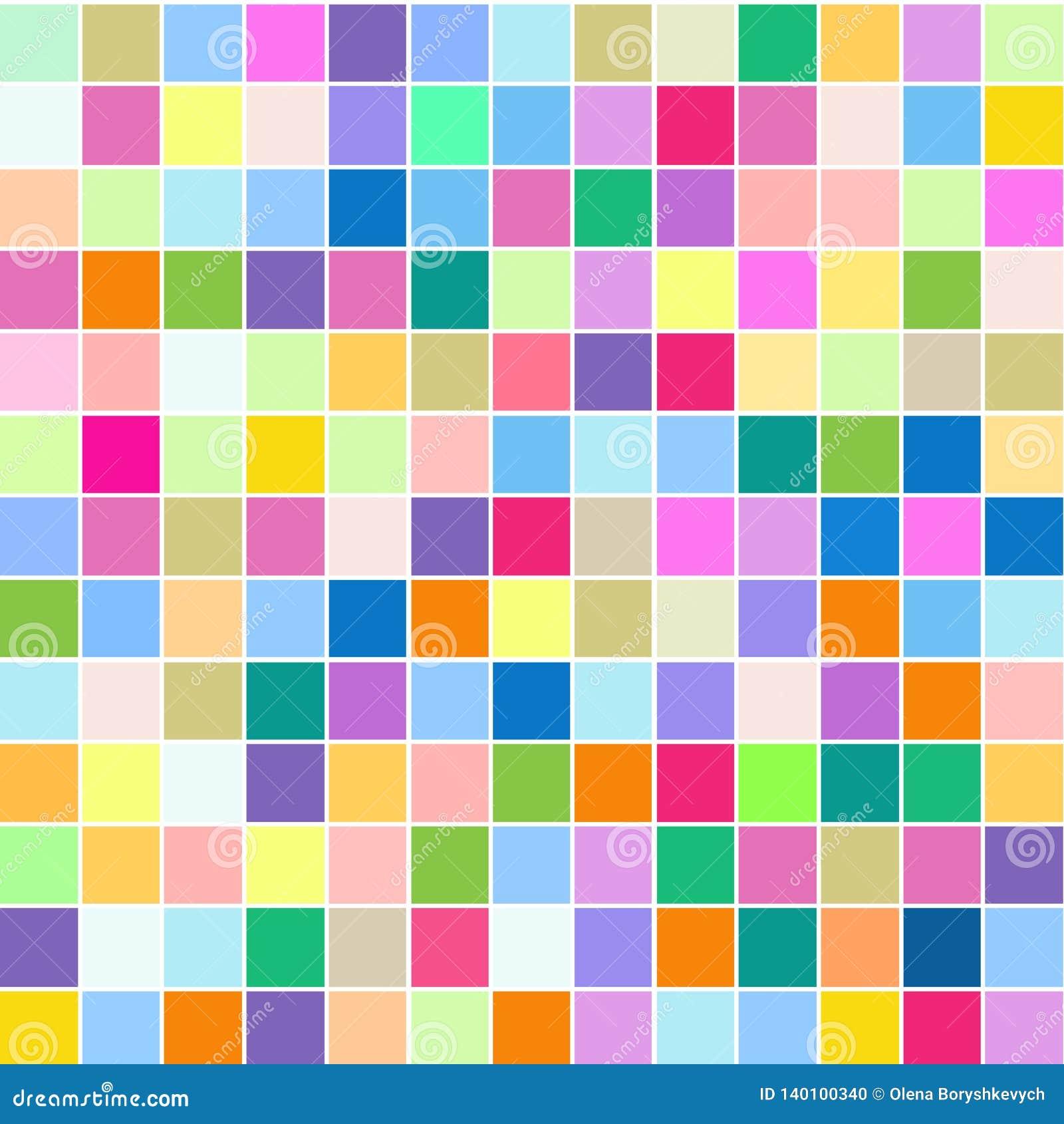 El mosaico del cuadrados coloridos brillantes en un fondo blanco