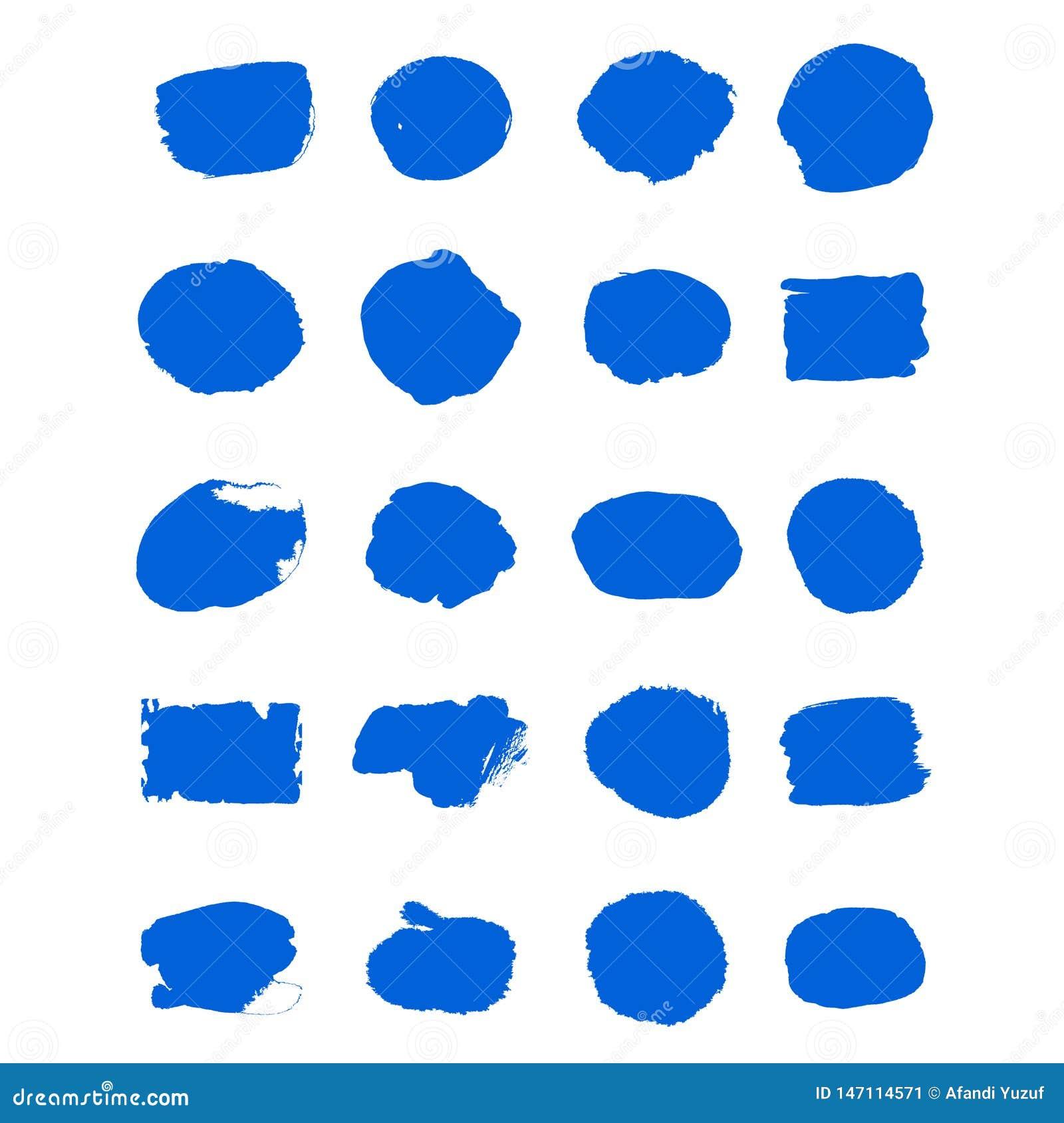 El movimiento de la brocha de la tinta azul del vector de la colecci?n fij? movimientos decorativos del cepillo del grunge exhaus