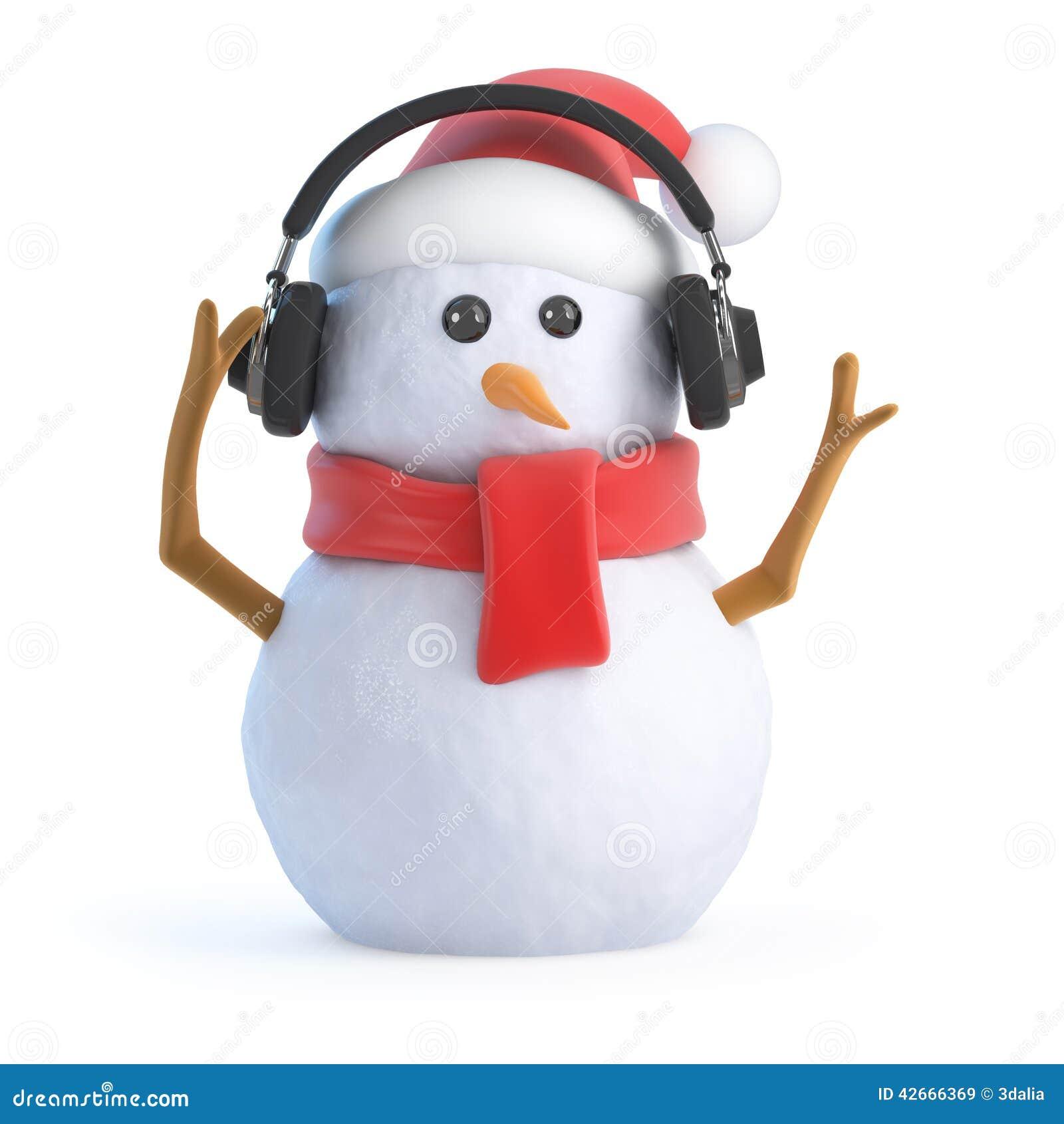 el-mu%C3%B1eco-de-nieve-d-escucha-en-los-auriculares-42666369.jpg