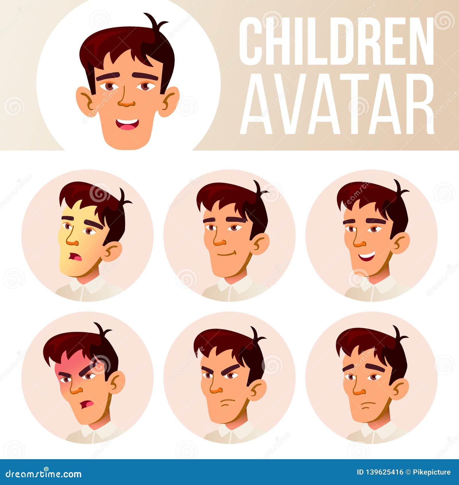 El muchacho asiático Avatar fijó vector del niño High School secundaria Haga frente a las emociones Emociones, emocionales Casual