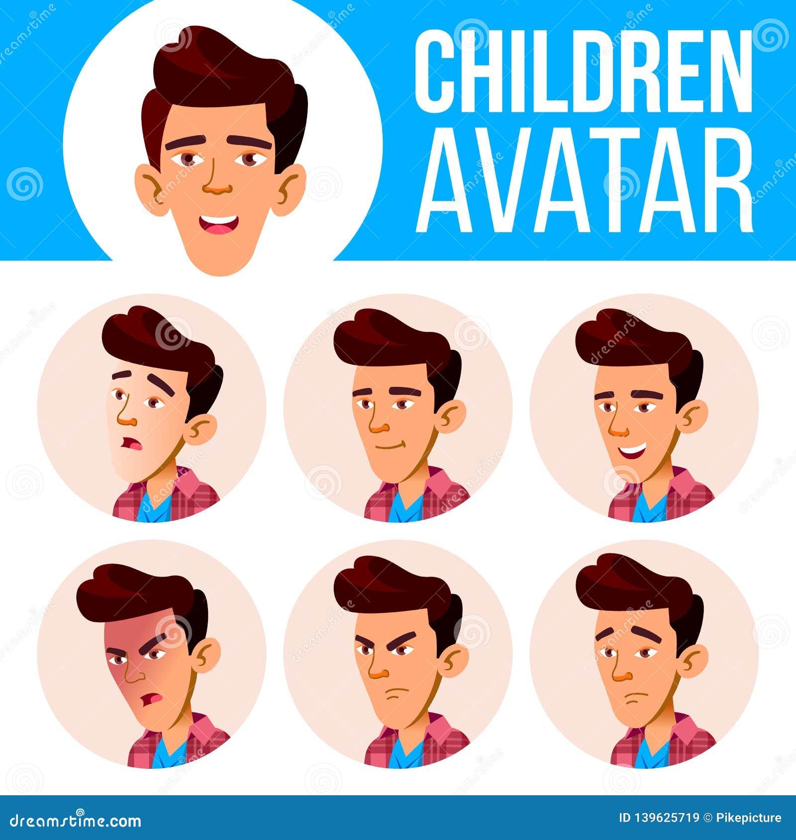 El muchacho asiático Avatar fijó vector del niño High School secundaria Haga frente a las emociones Facial, gente Niños, positivo