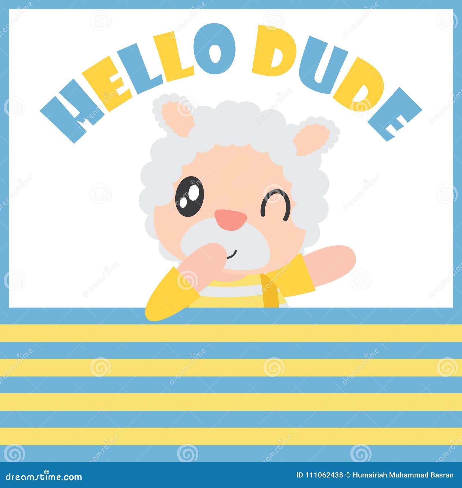 El muchacho lindo de las ovejas dice hola al tipo con su ejemplo de la  historieta e006c89998a11