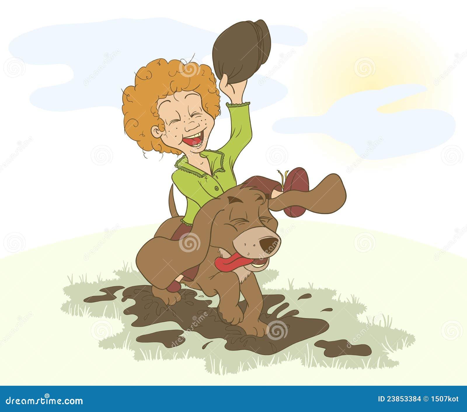 El muchacho y el perro que se ejecutan alrededor en los charcos