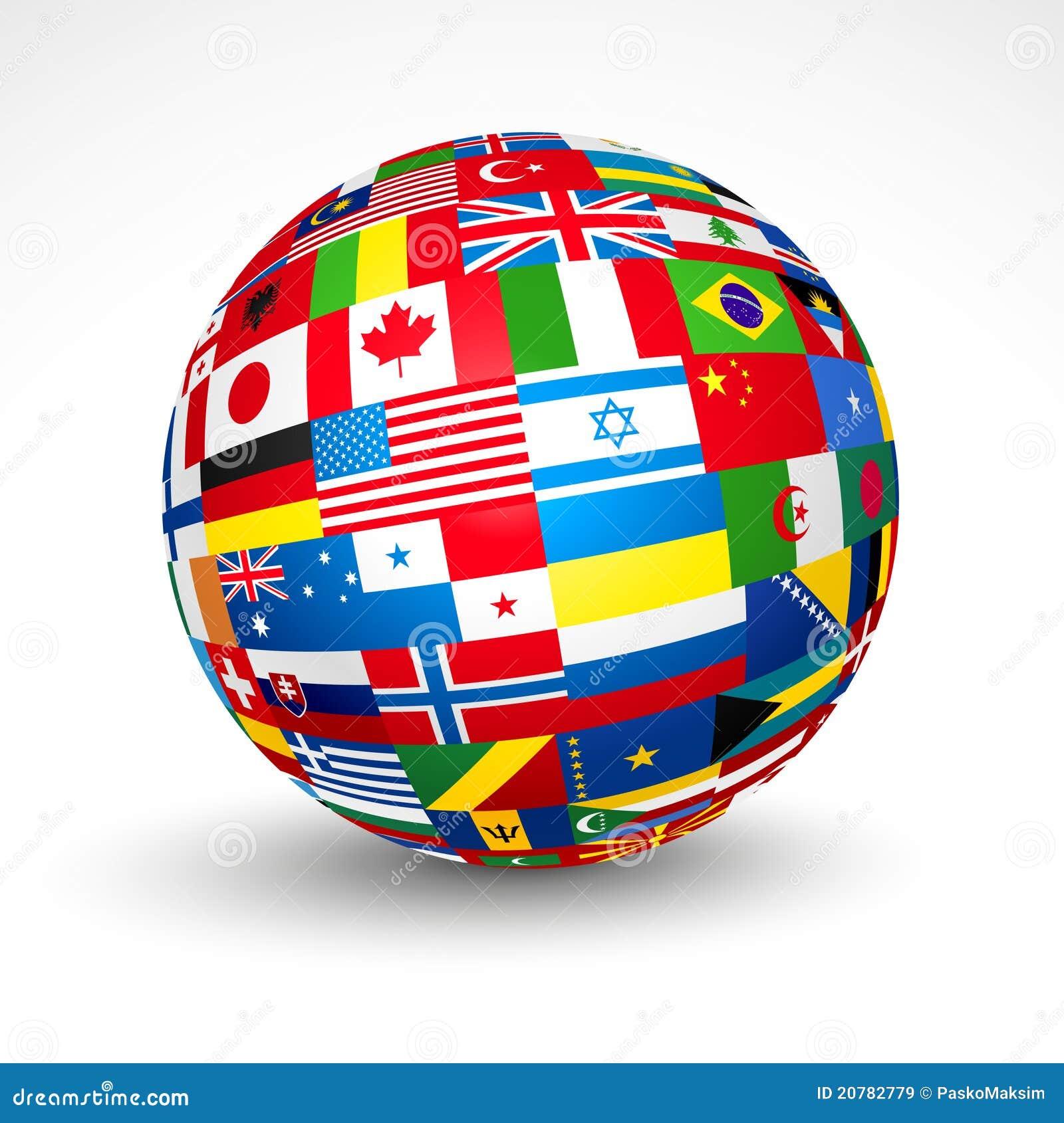 El mundo señala la esfera por medio de una bandera.