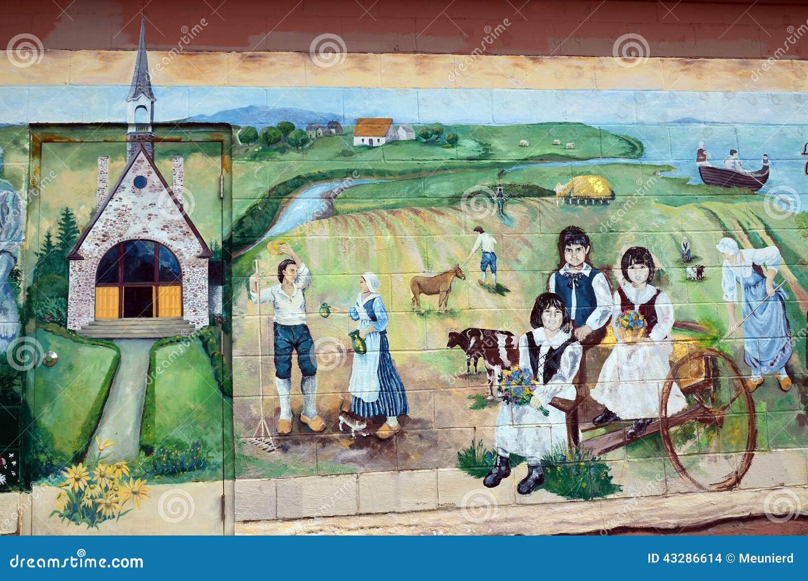 El mural cuenta la historia de la gente de los acadians