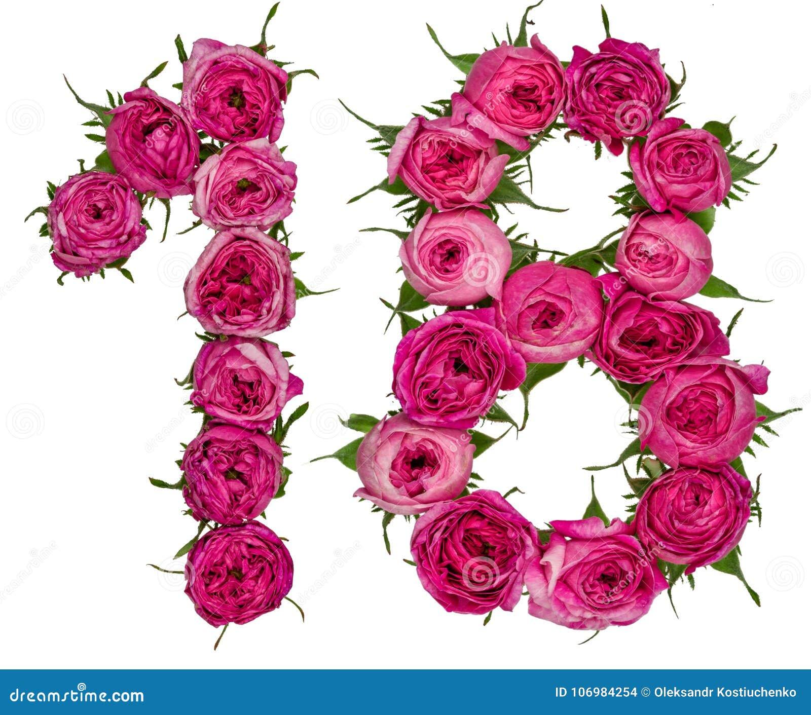 El número árabe 18, dieciocho, de las flores rojas de subió, aislado